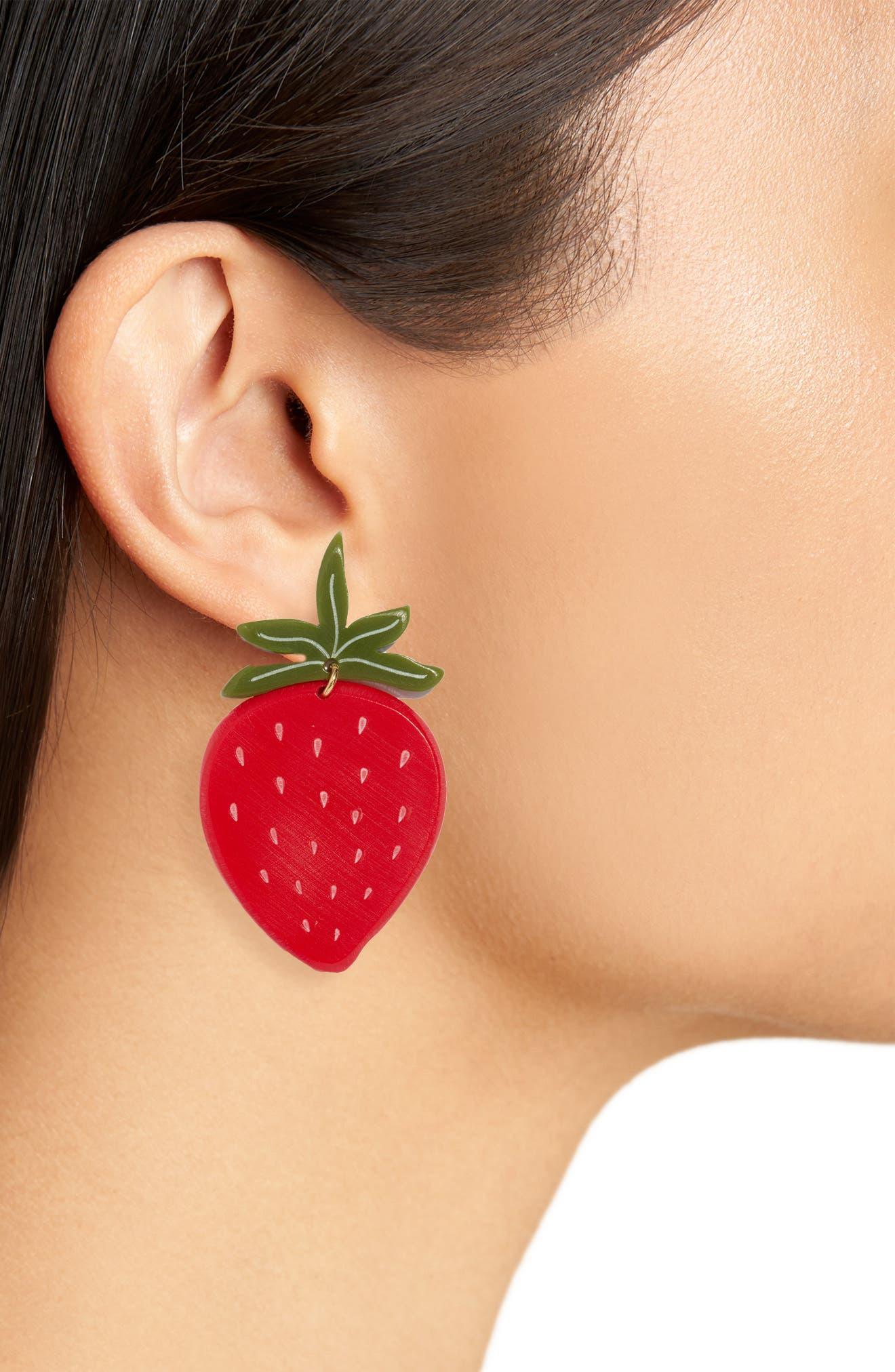 Strawberry Earrings,                             Alternate thumbnail 2, color,                             RED