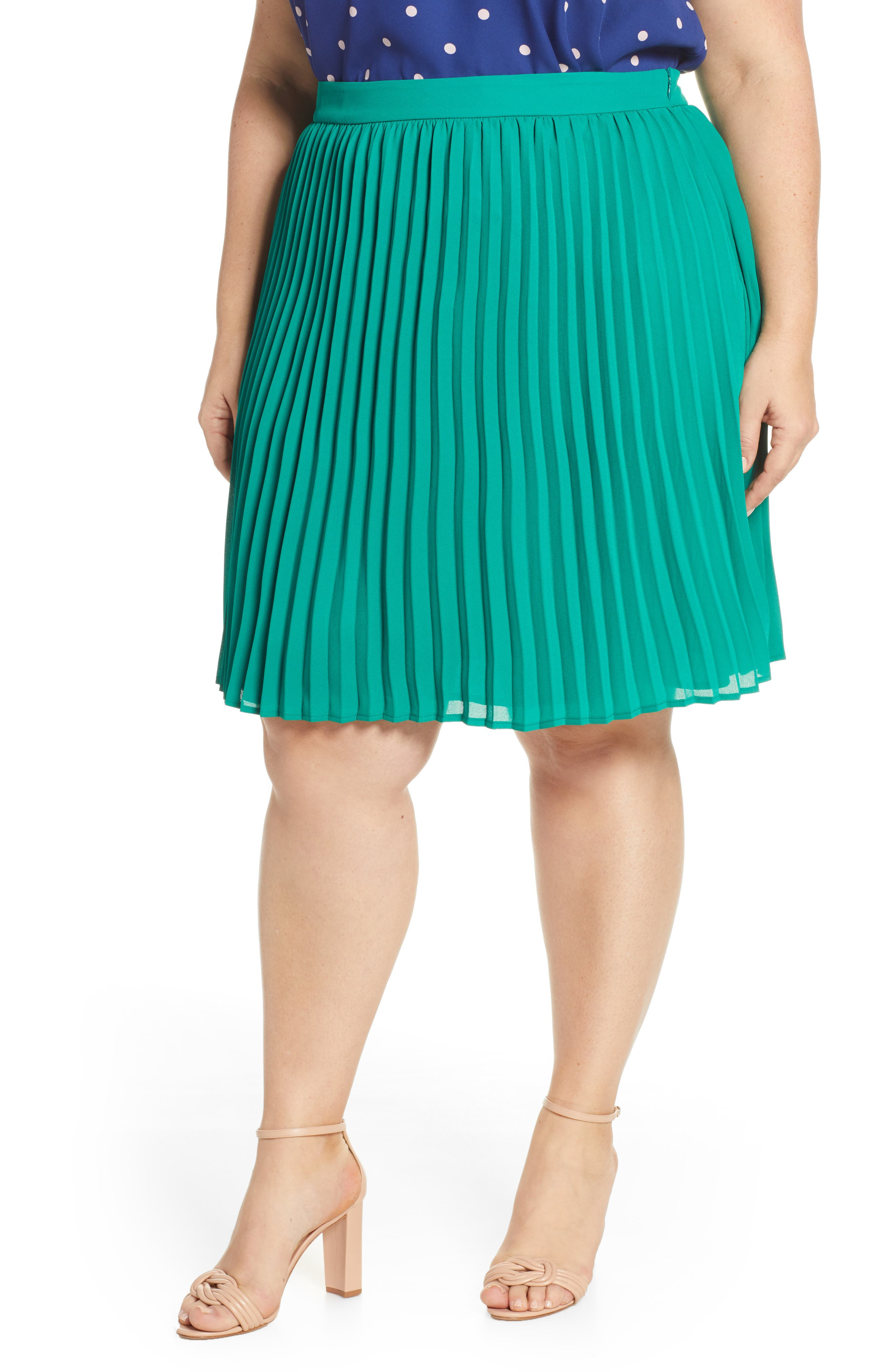 Plus Size Gibson X International Day Thamarr Pleated Skirt, Green