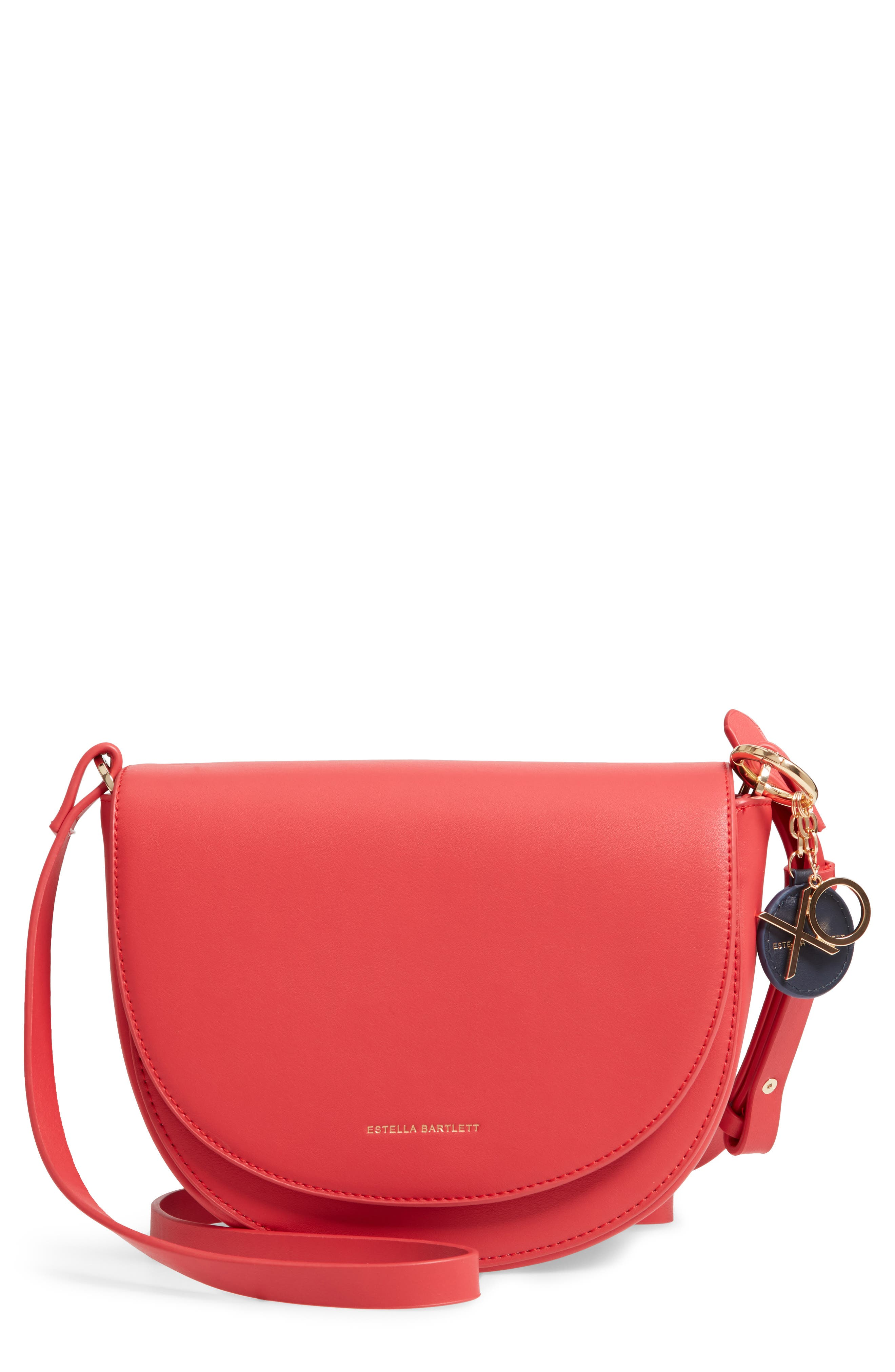 Faux Leather Saddle Bag,                         Main,                         color, RED/ GREY