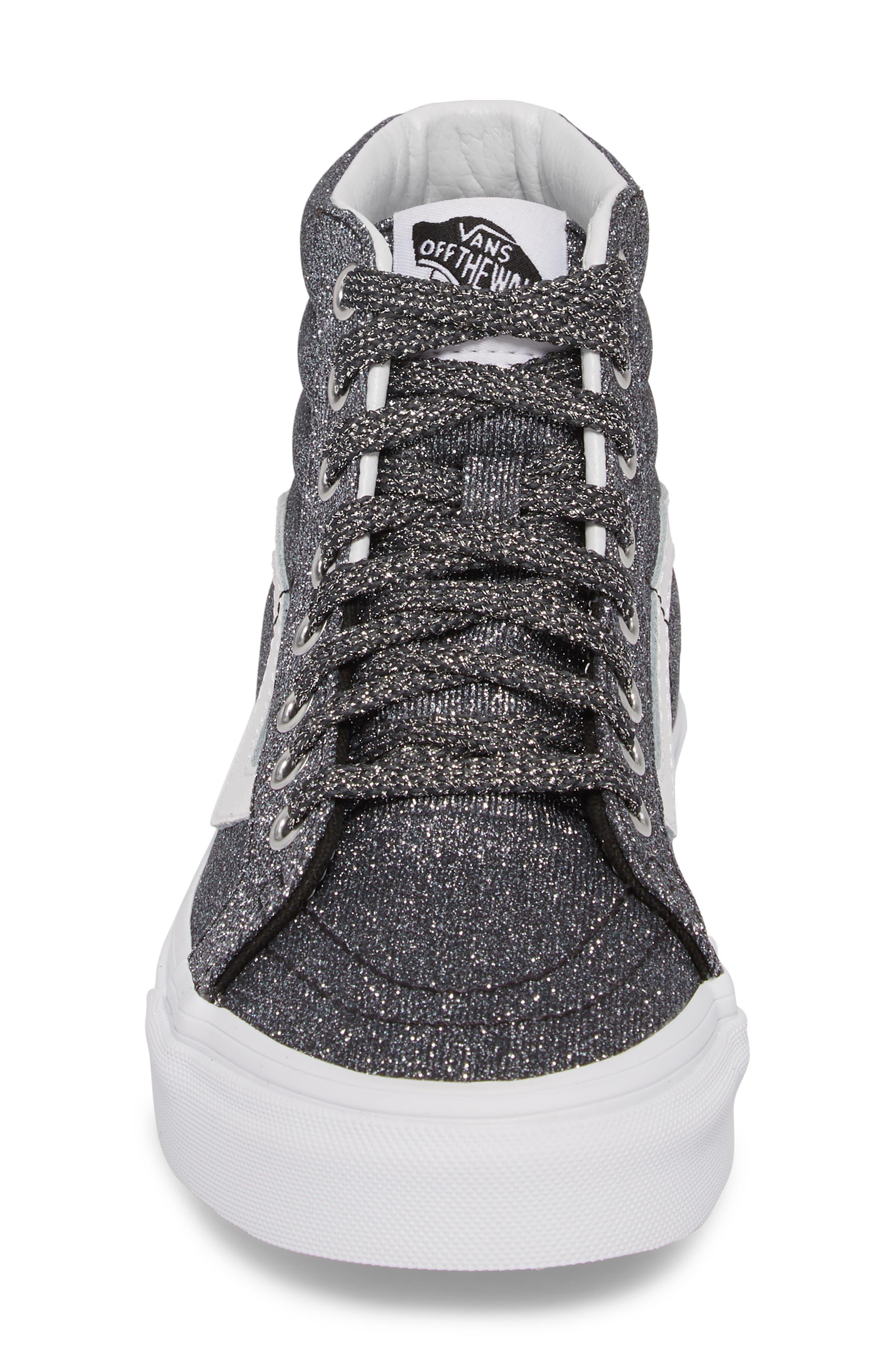 UA Sk8-Hi Reissue Glitter Sneaker,                             Alternate thumbnail 4, color,                             001