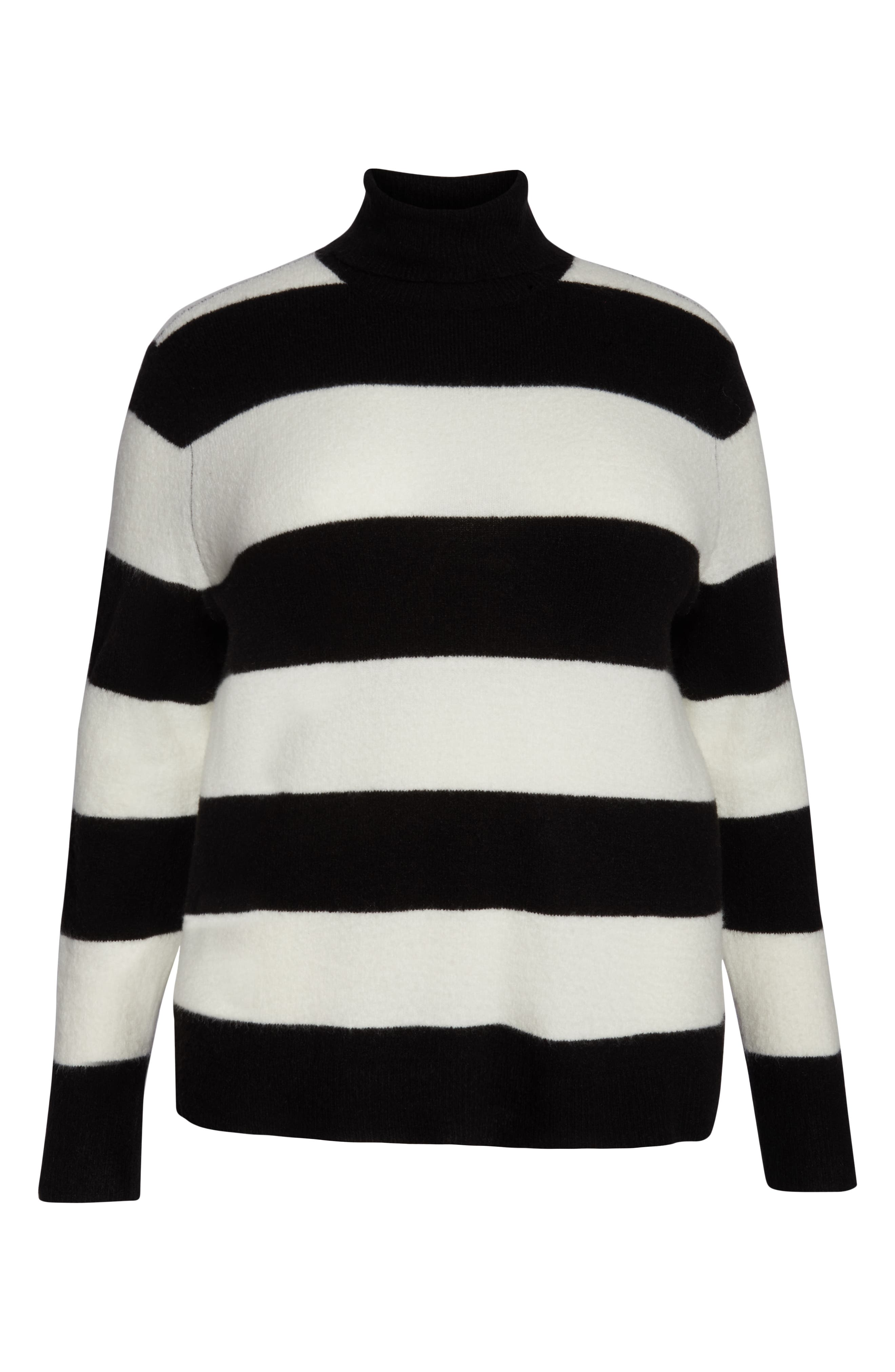 x Atlantic-Pacific Stripe Turtleneck Sweater,                             Alternate thumbnail 6, color,                             BLACK- IVORY STRIPE