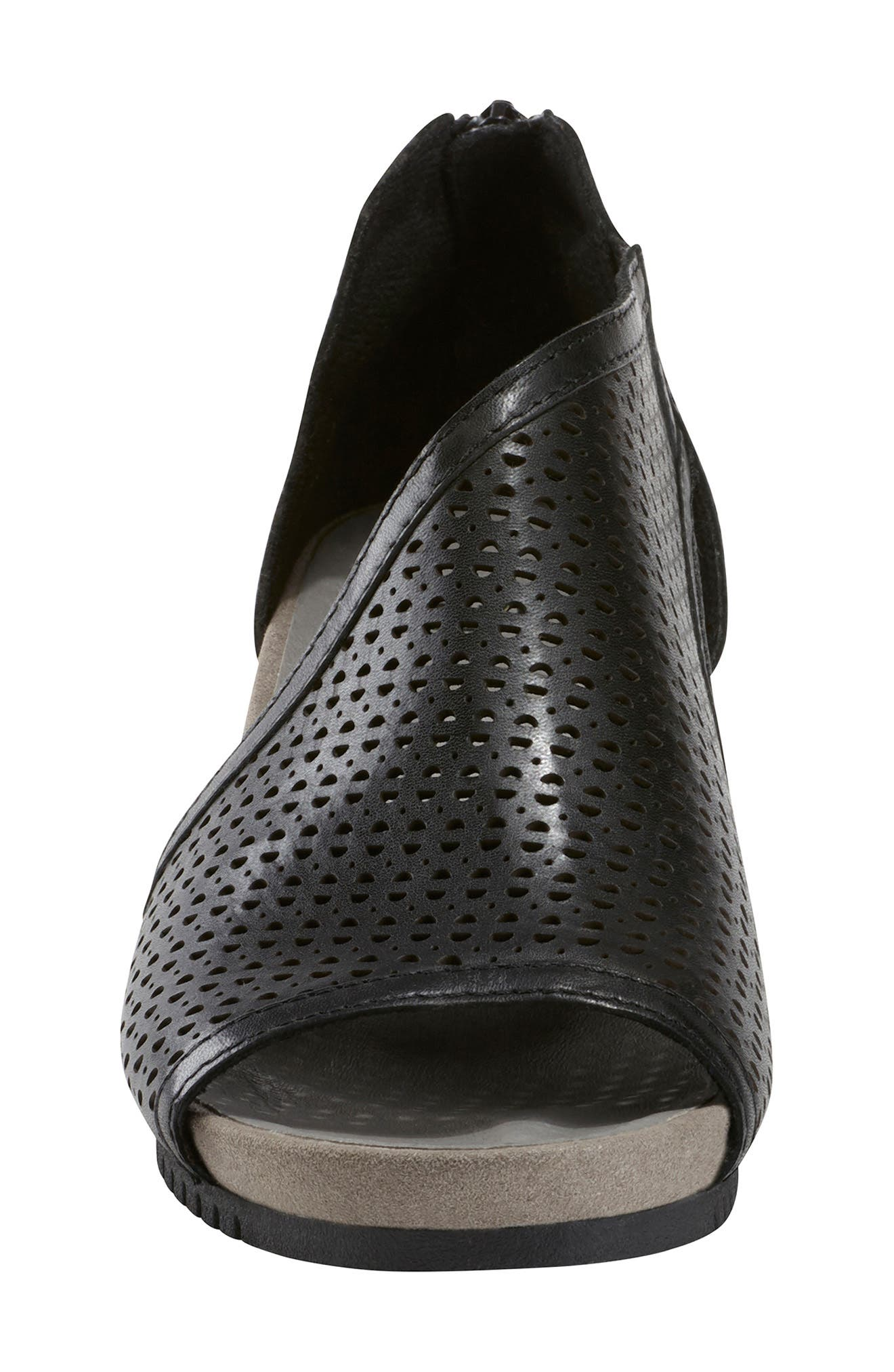 Capricorn Wedge Sandal,                             Alternate thumbnail 4, color,                             BLACK LEATHER