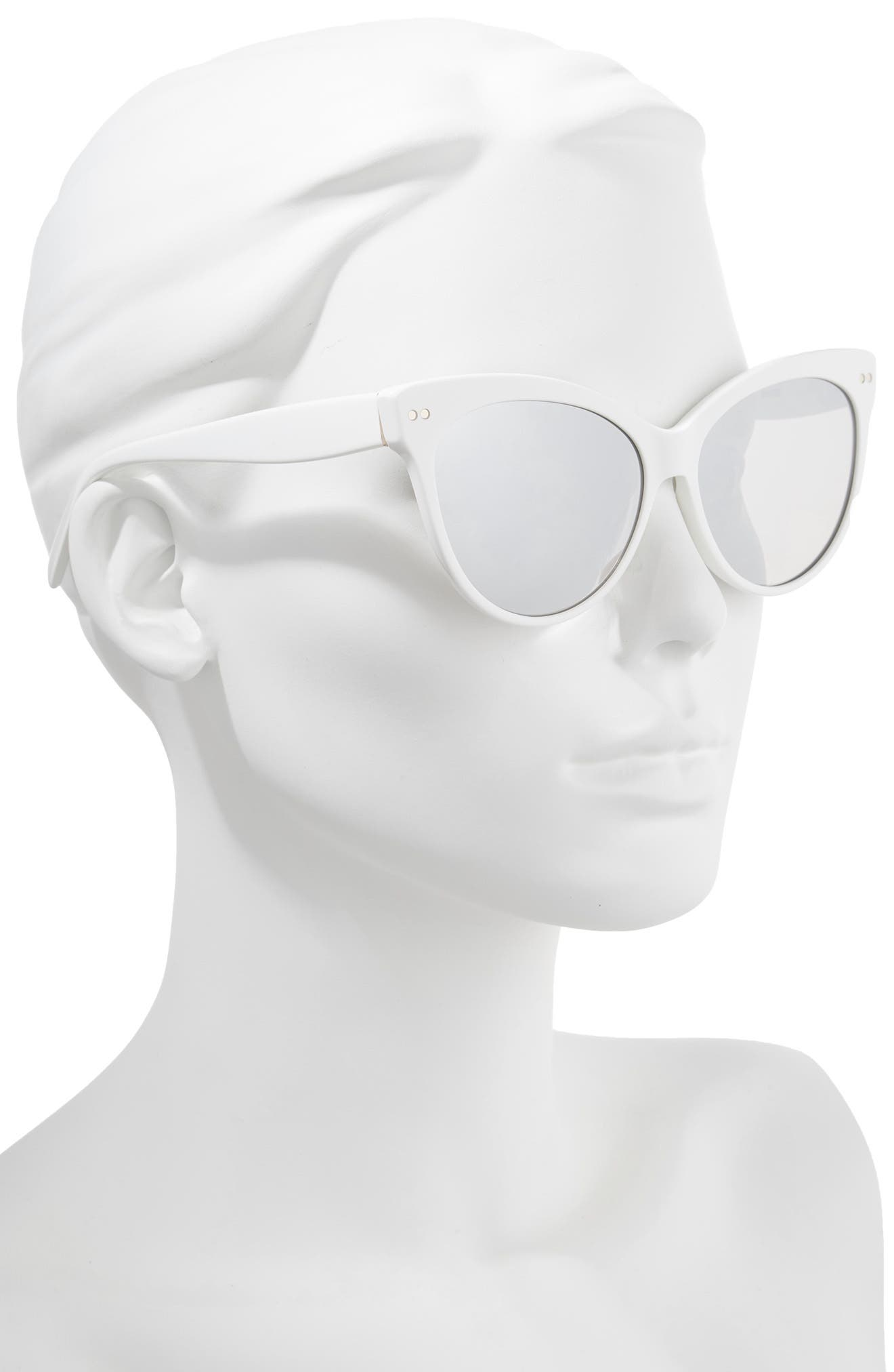 Audrey 60mm Cat Eye Sunglasses,                             Alternate thumbnail 2, color,                             WHITE