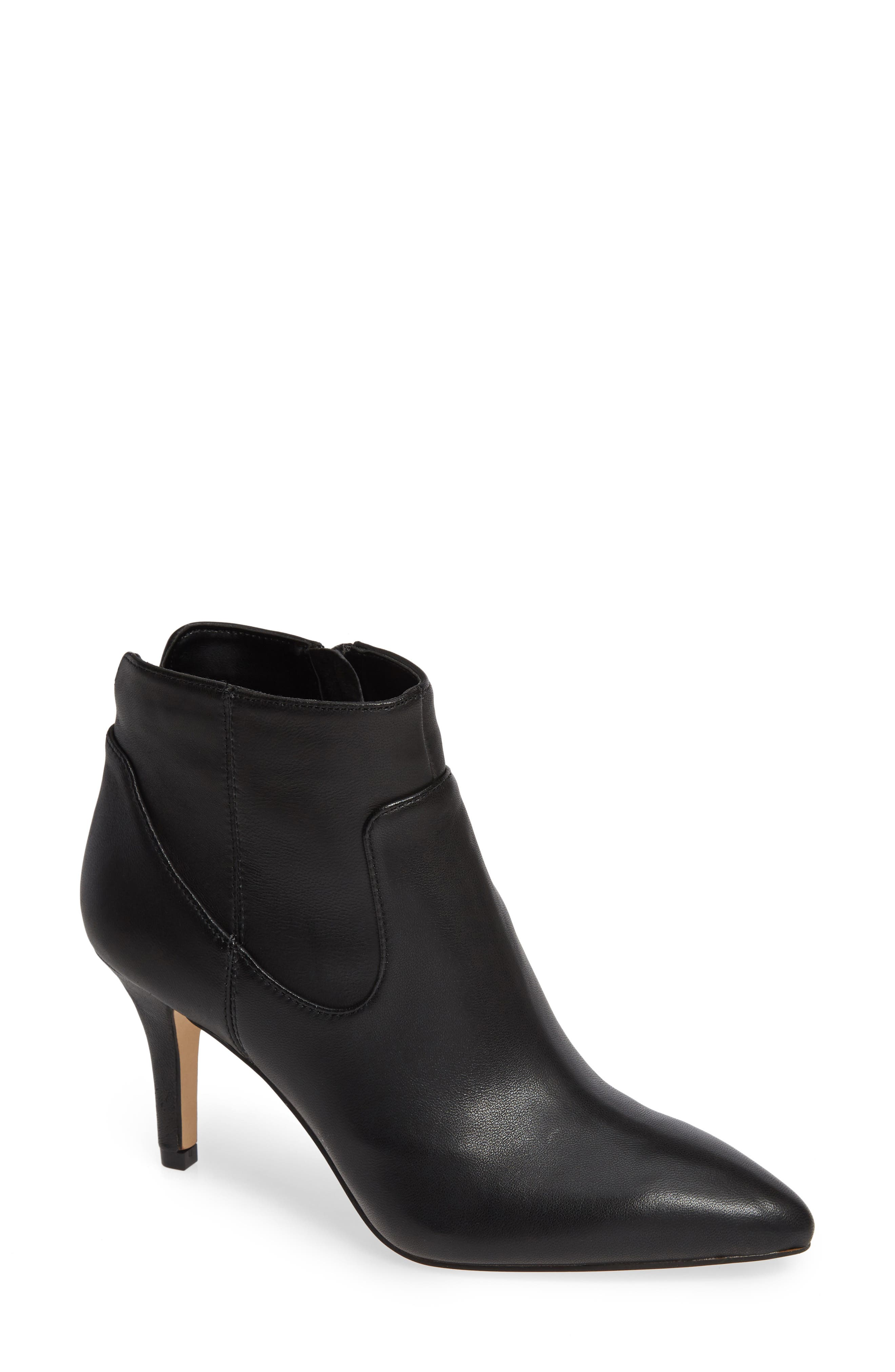 SOLE SOCIETY,                             Raphaela Bootie,                             Main thumbnail 1, color,                             BLACK LEATHER