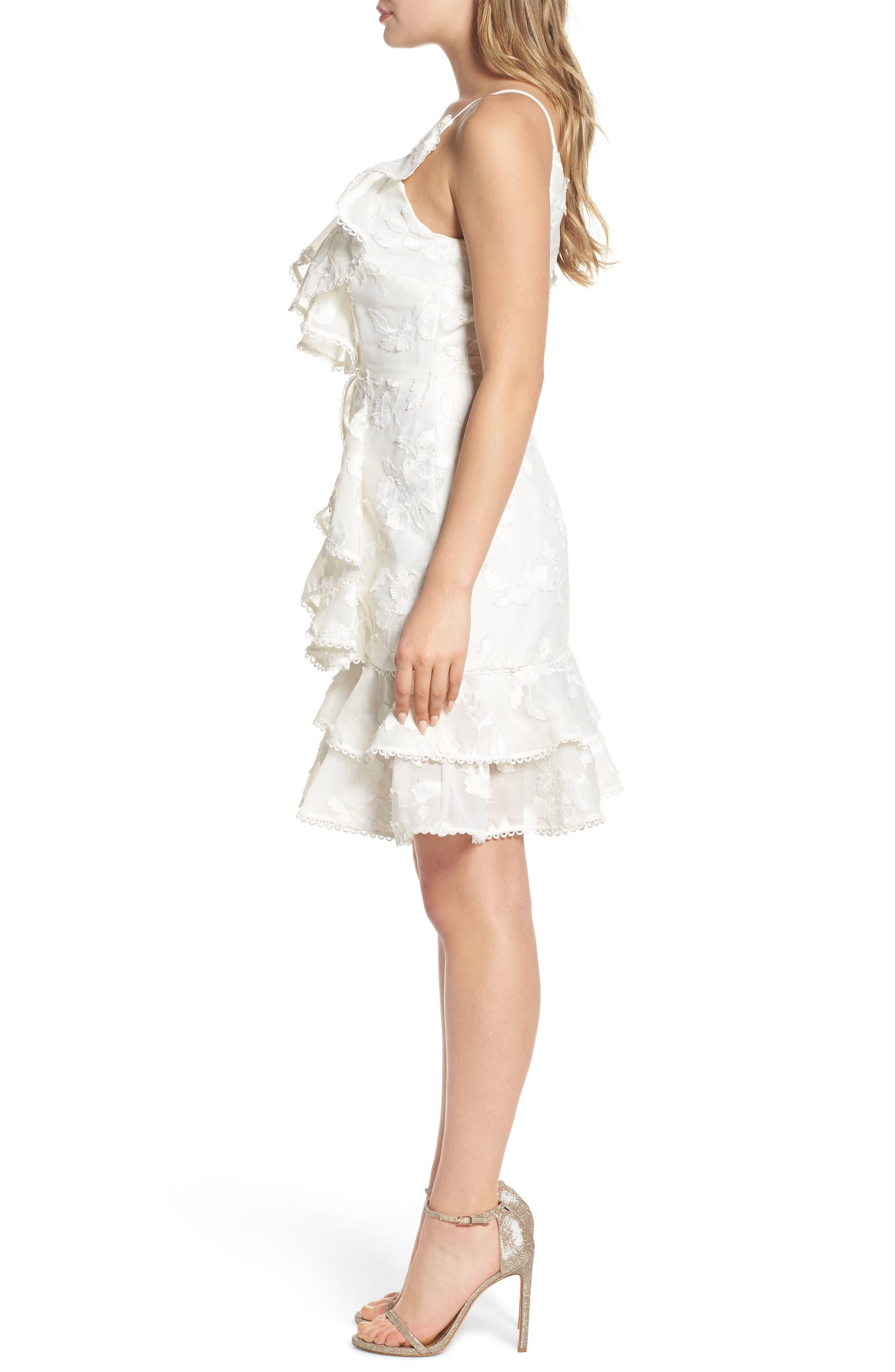 Shine Ruffle Lace Dress,                             Alternate thumbnail 3, color,                             900
