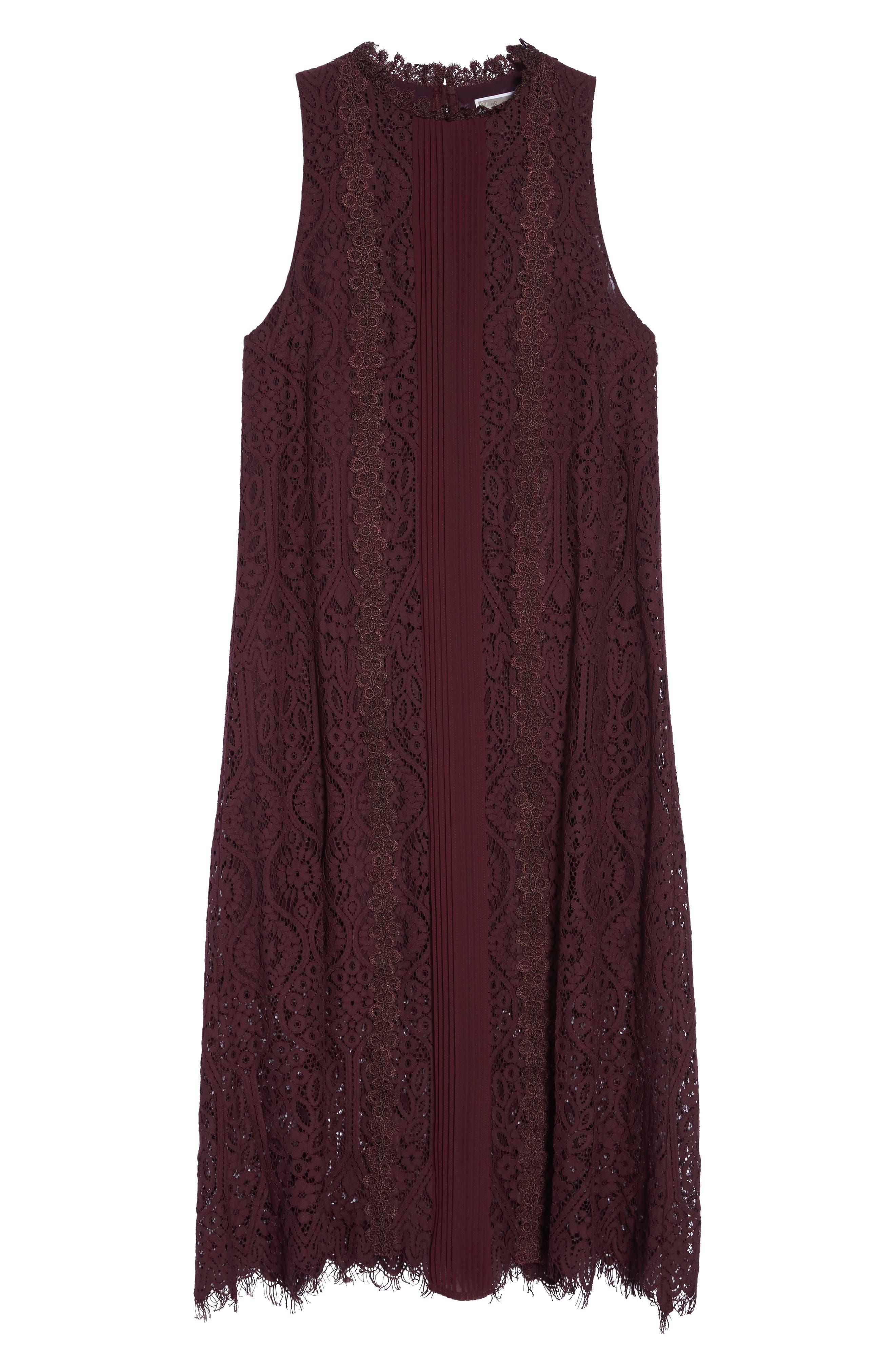 Lace Pleated Midi Dress,                             Alternate thumbnail 6, color,                             930