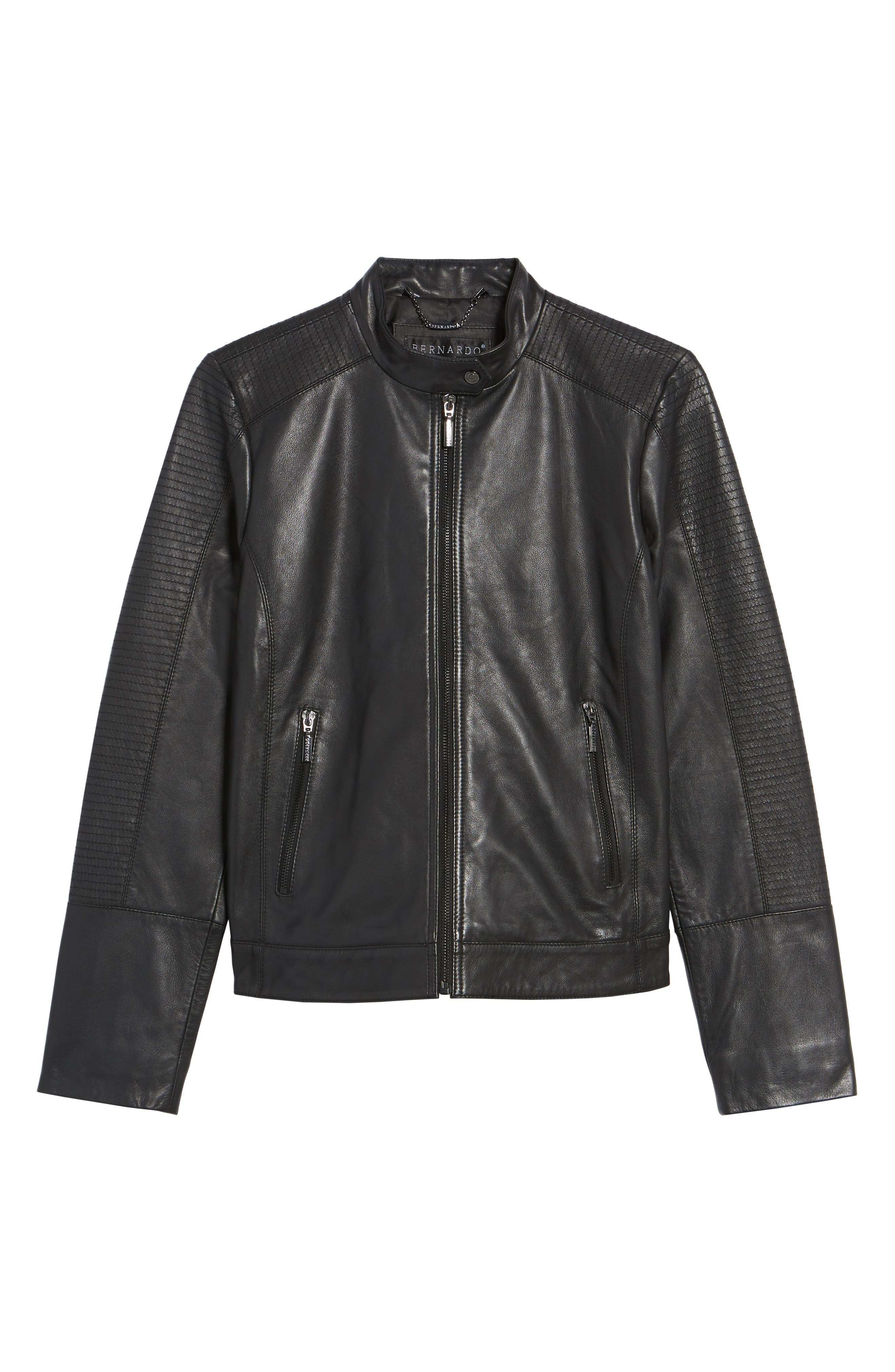 Kirwin Leather Moto Jacket,                             Alternate thumbnail 5, color,                             001