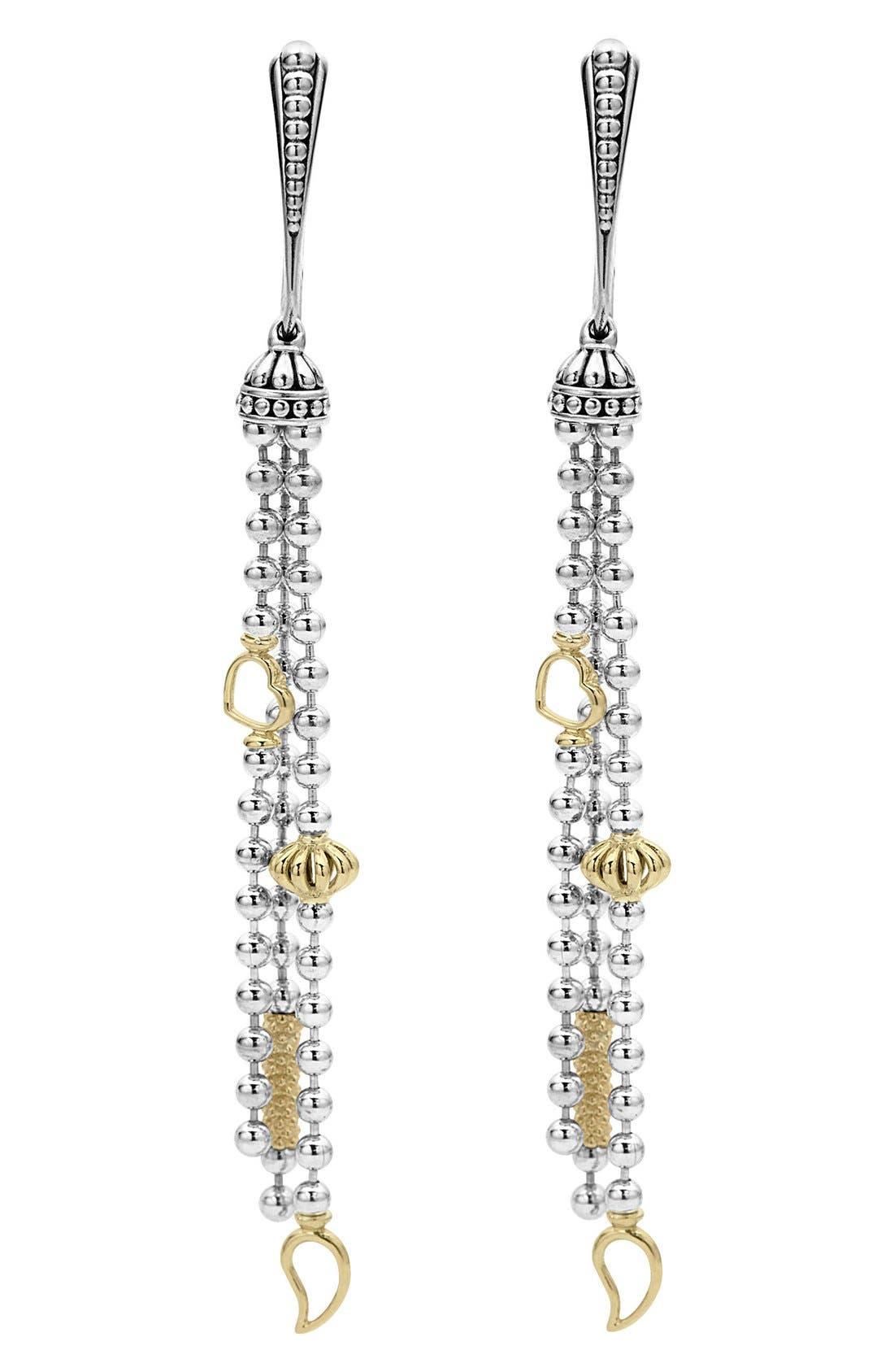 'Caviar Icon' Linear Drop Earrings,                             Alternate thumbnail 3, color,                             SILVER/ GOLD