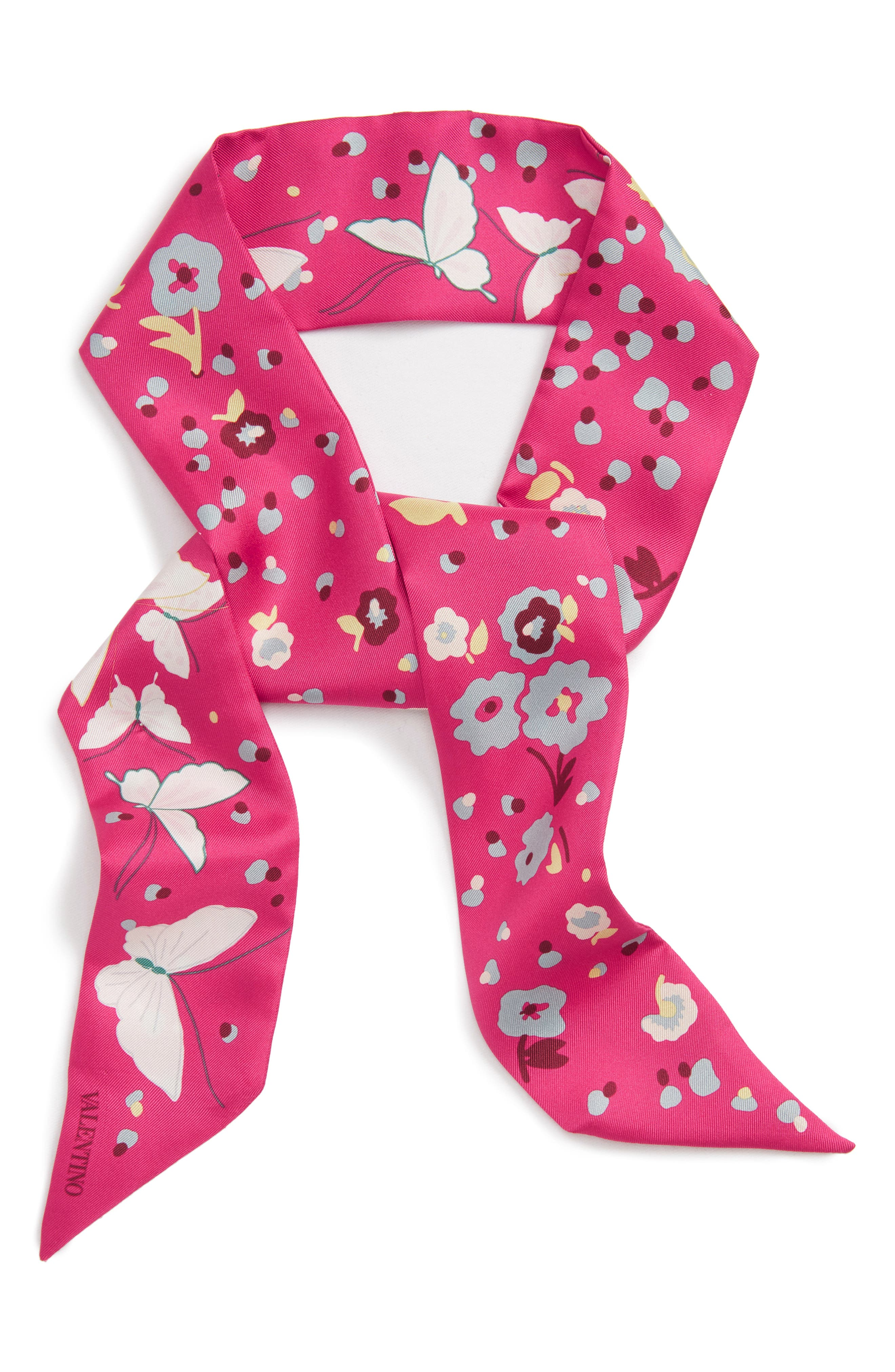 Butterfly Skinny Silk Scarf,                             Alternate thumbnail 6, color,