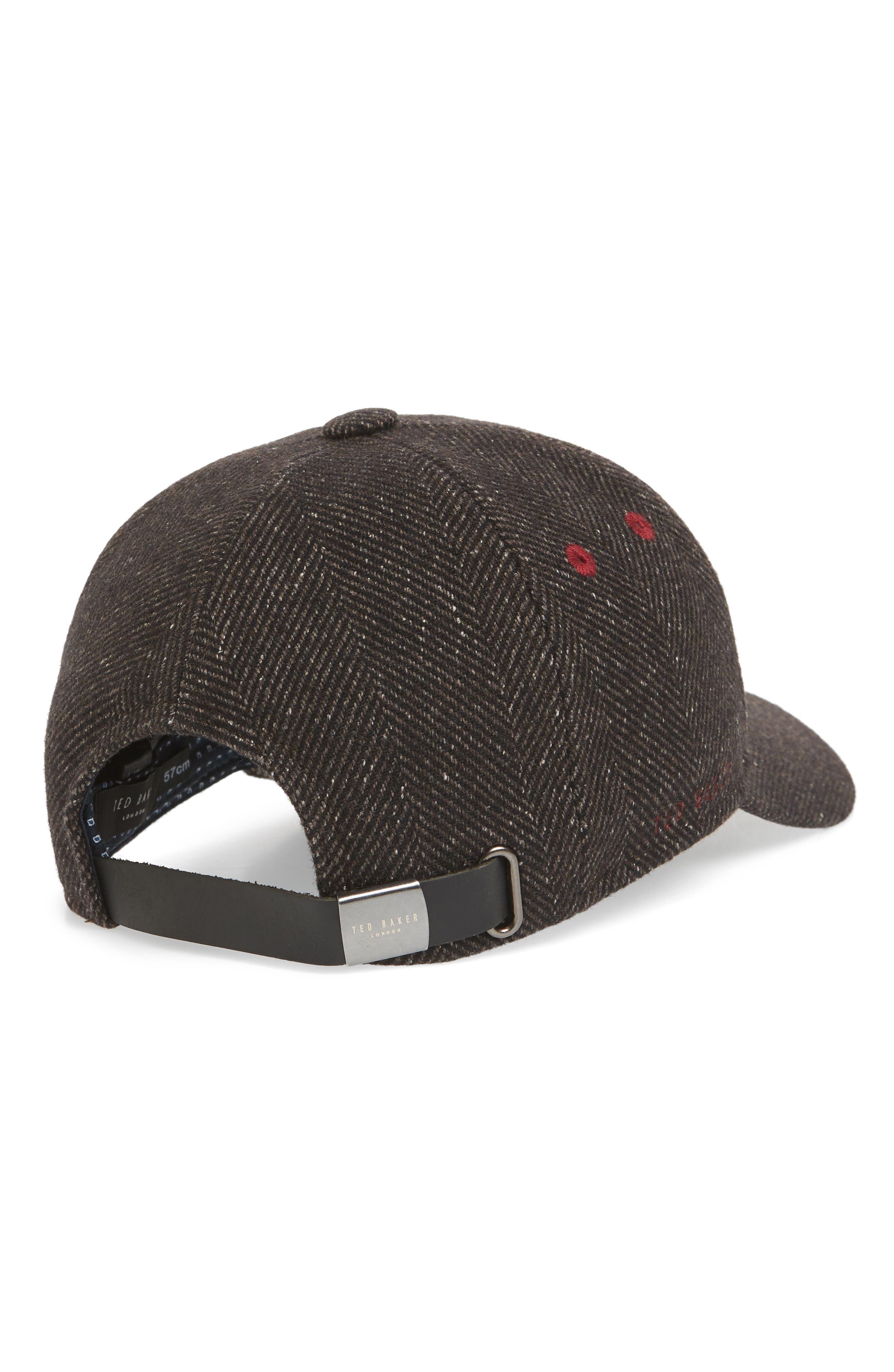 Herringbone Baseball Cap,                             Alternate thumbnail 2, color,                             BROWN