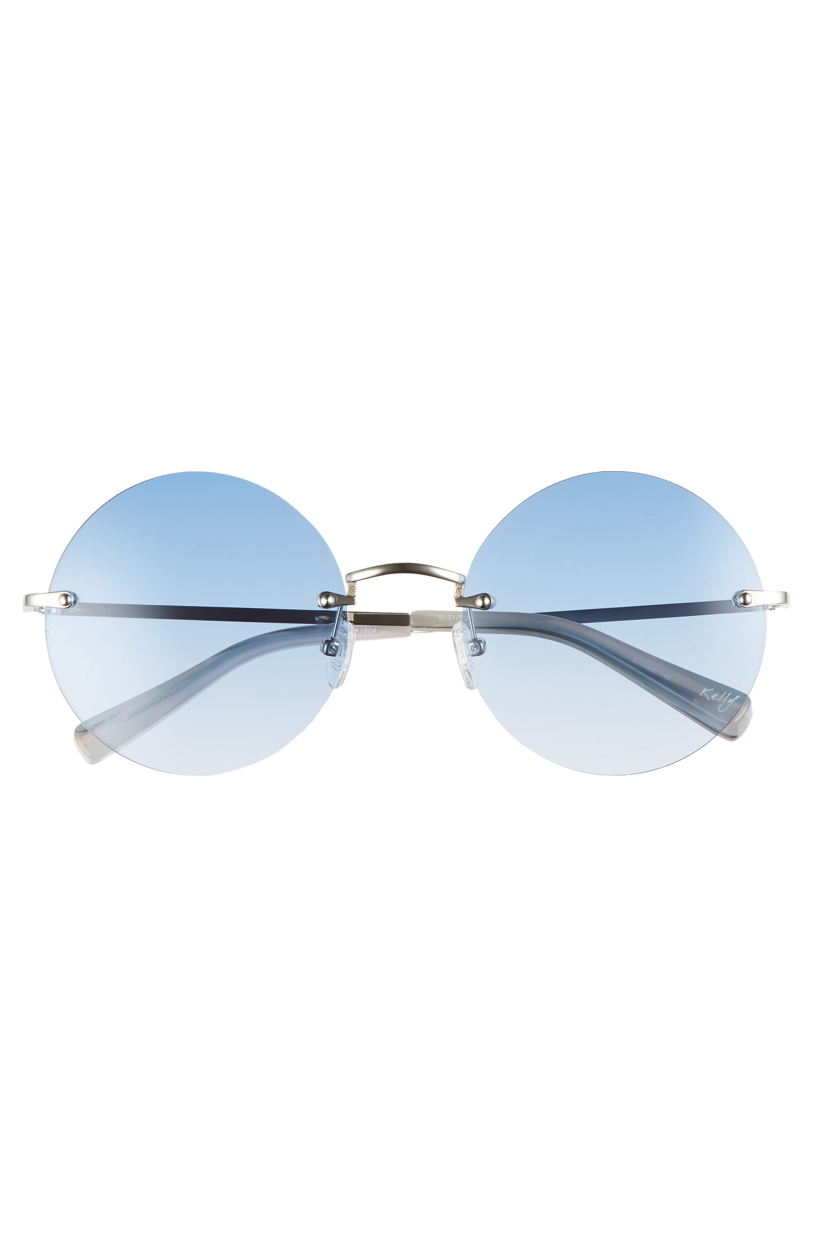 Kelly 57mm Rimless Round Sunglasses,                             Alternate thumbnail 3, color,                             SILVER/ BLUE