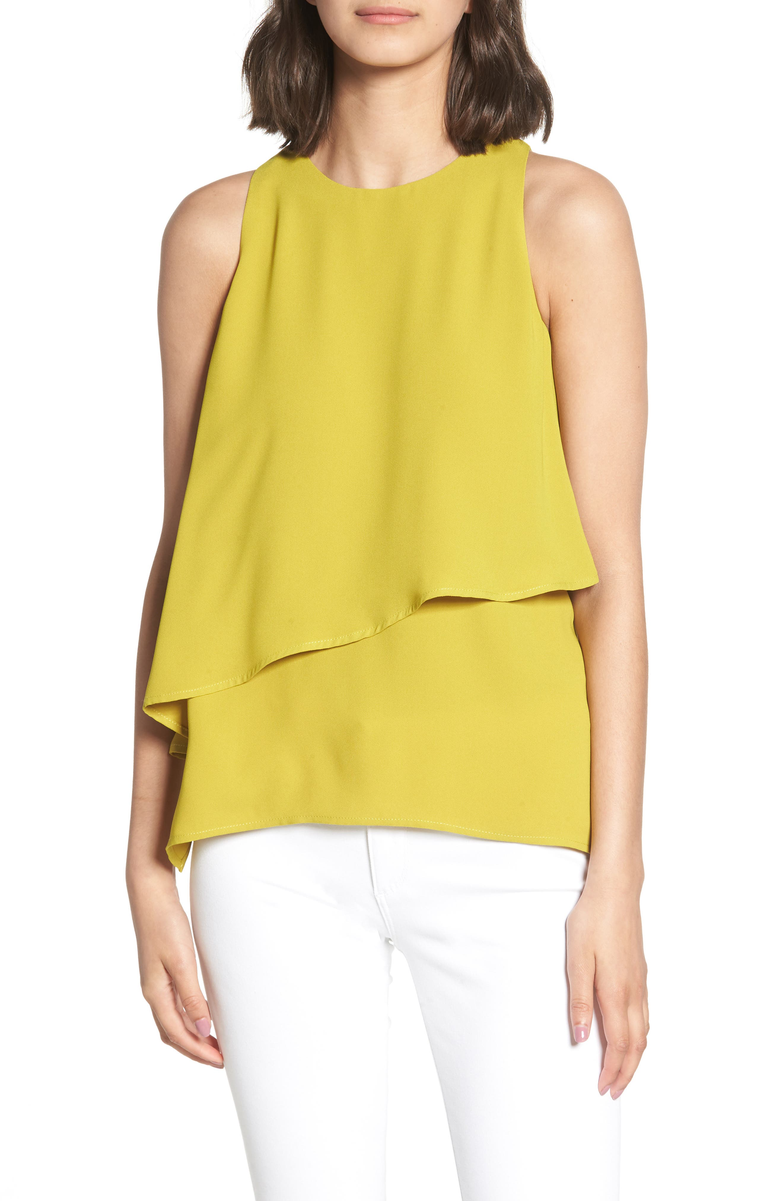 Tiered Sleeveless Top,                         Main,                         color, OLIVE OIL