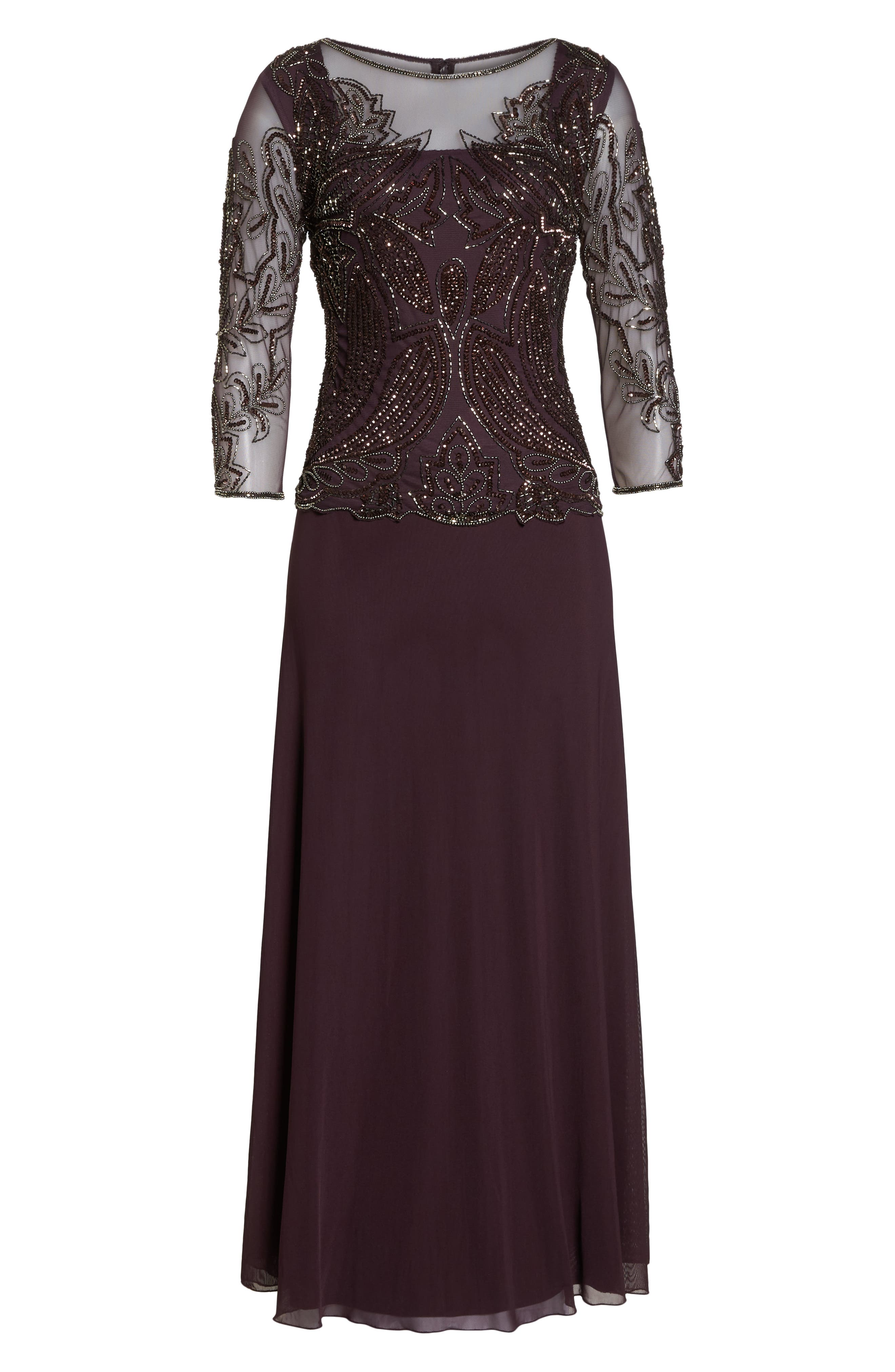 Embellished Mesh Gown,                             Alternate thumbnail 7, color,                             NEW WINE 2