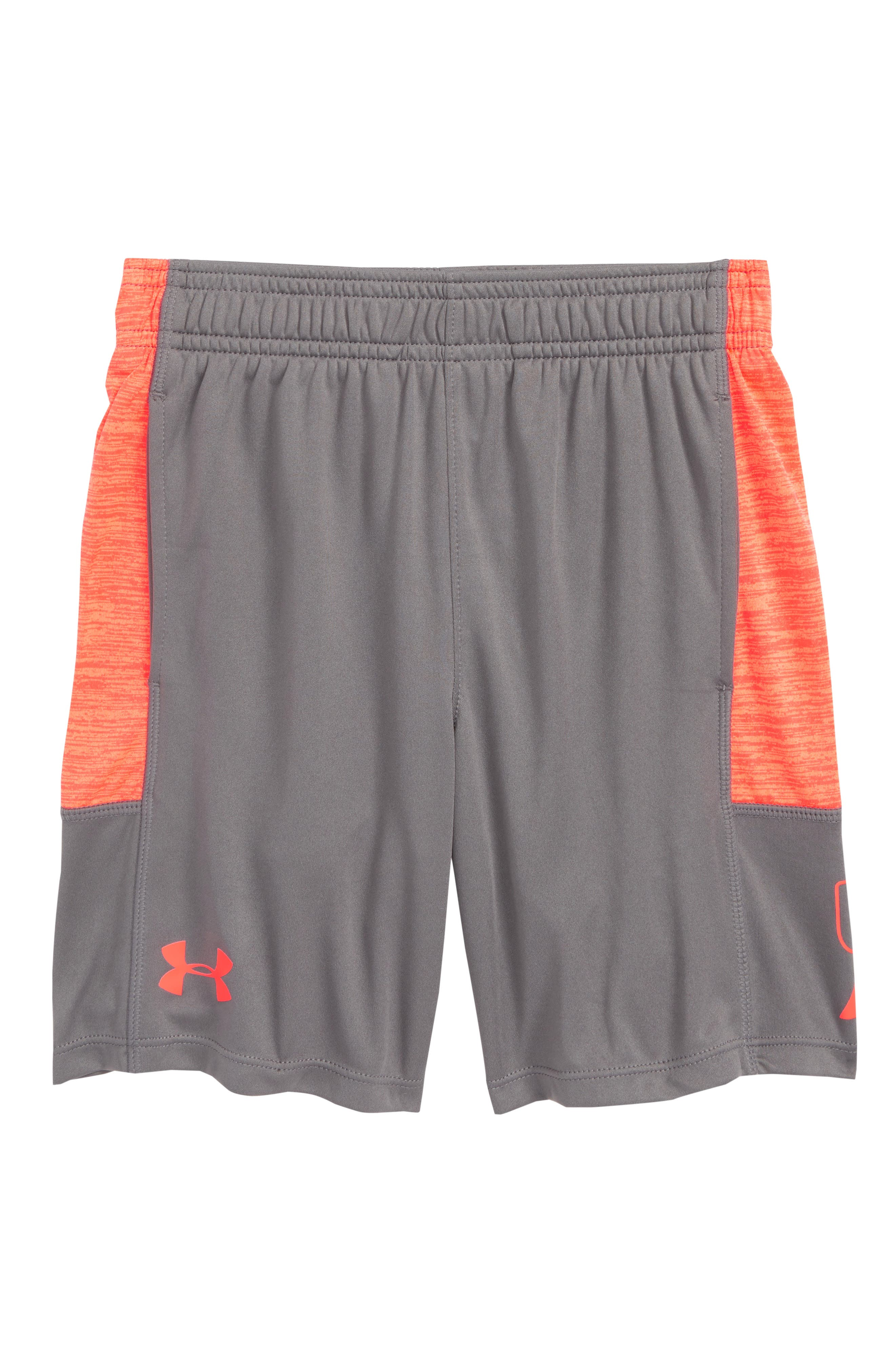 Twist Stunt HeatGear<sup>®</sup> Shorts,                             Main thumbnail 1, color,                             GRAPHITE/ NEON CORAL