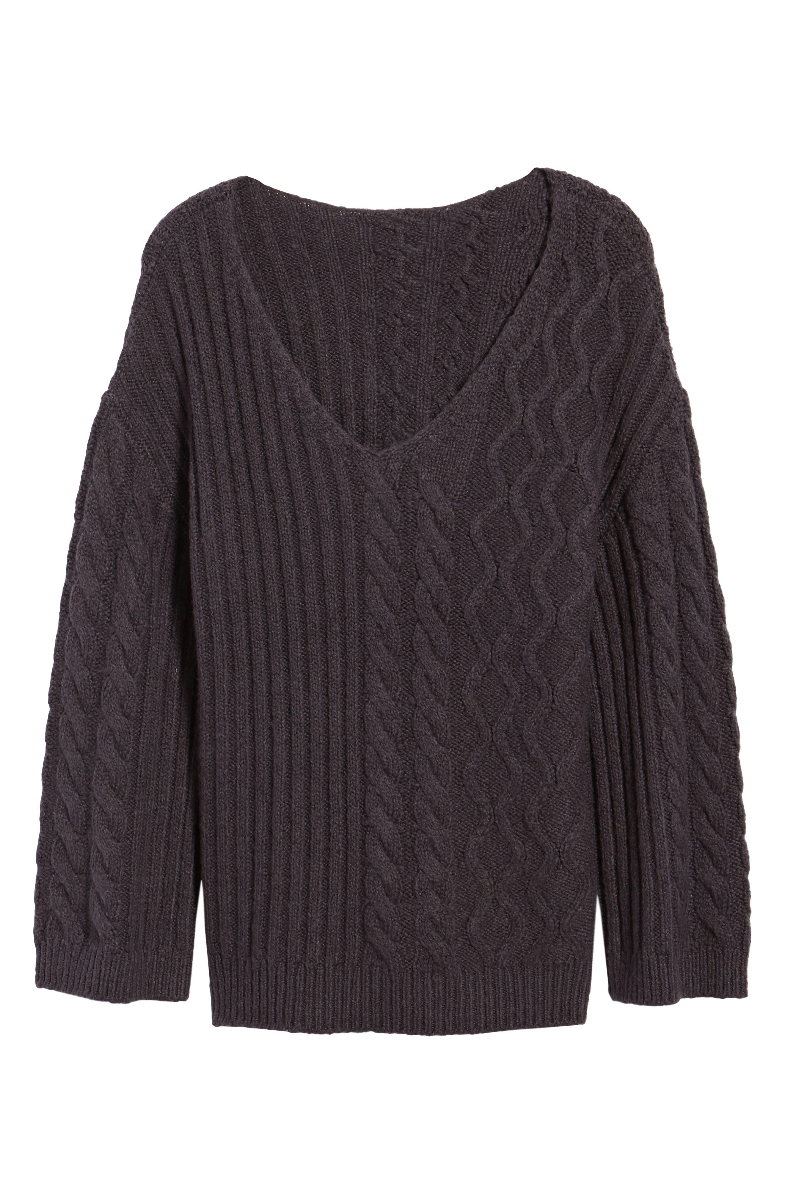 Mix Stitch Cotton Blend Sweater,                             Alternate thumbnail 6, color,                             021