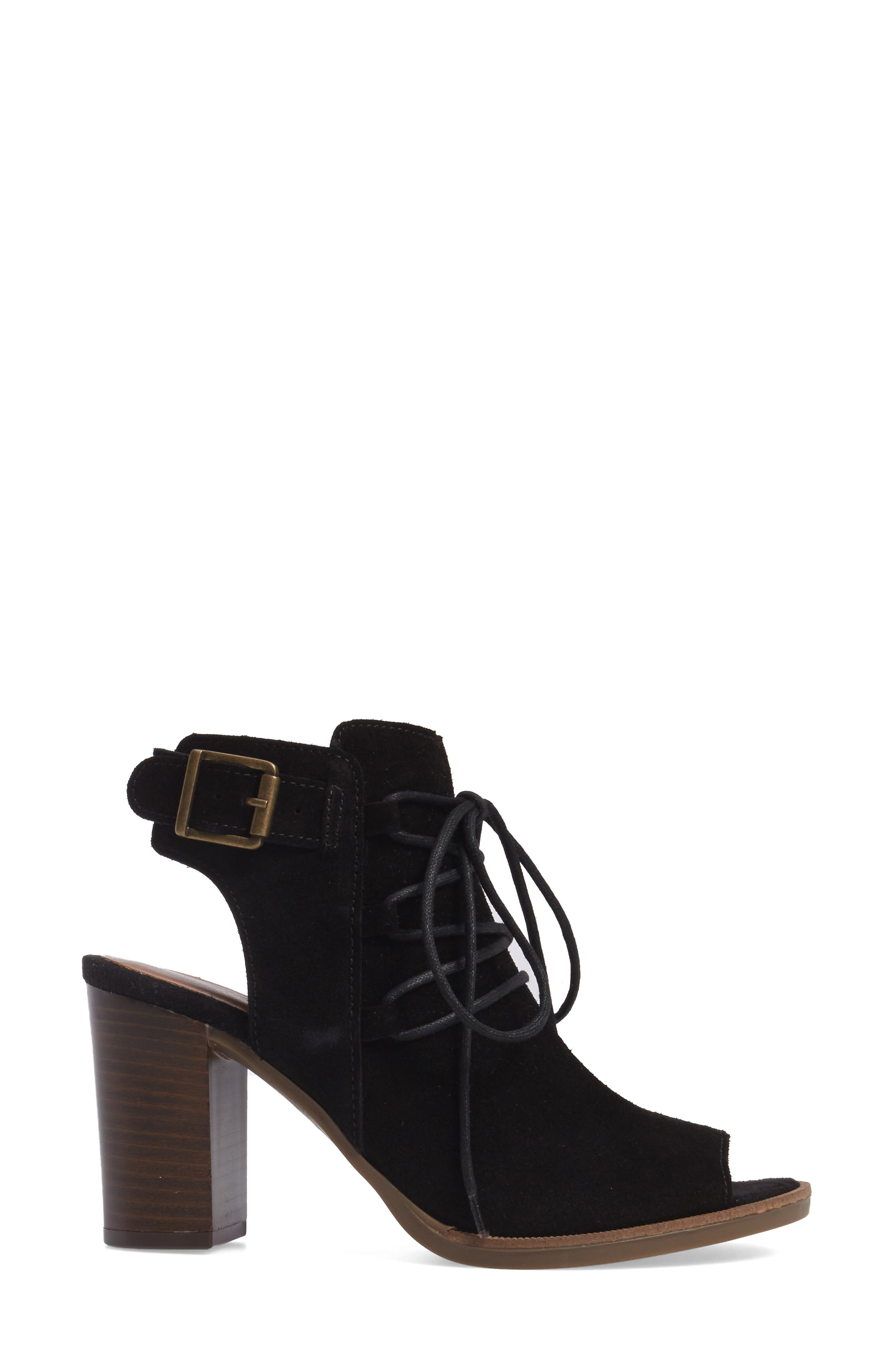 Pru Lace-Up Peep Toe Bootie,                             Alternate thumbnail 3, color,                             018