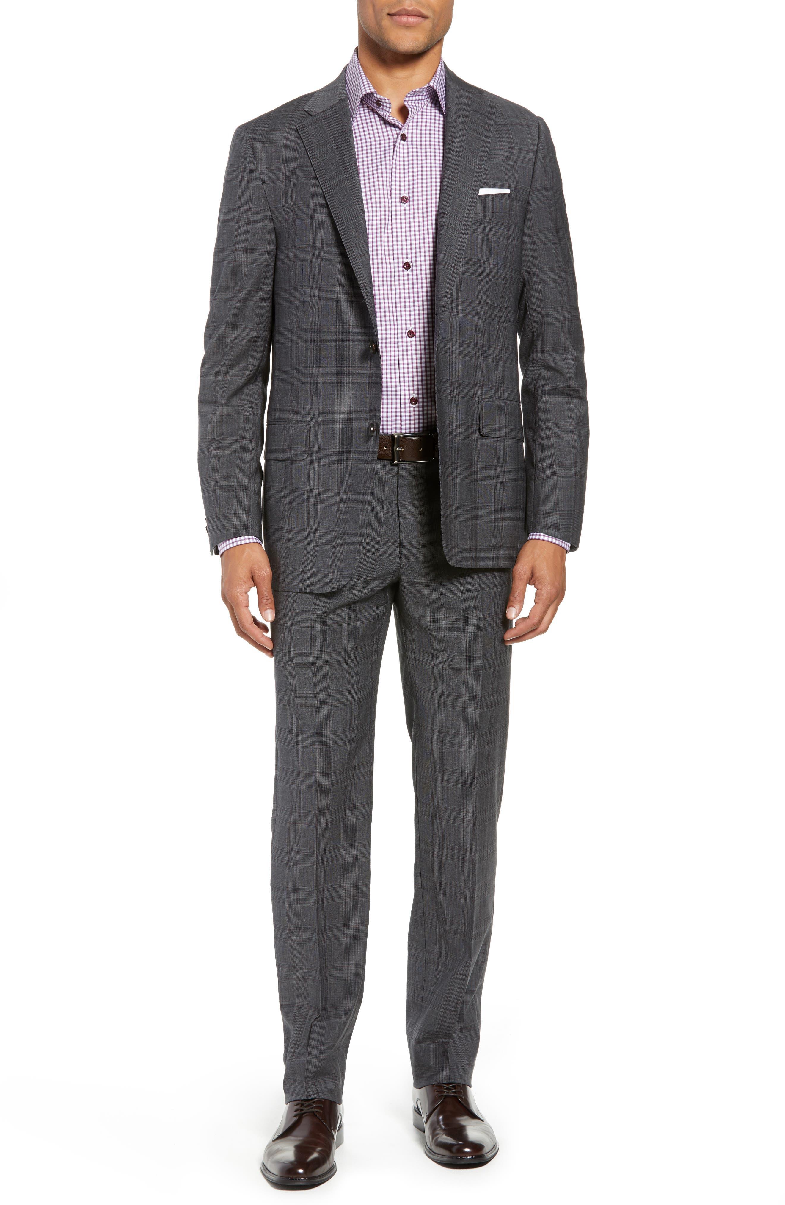 Classic Fit Plaid Wool Suit,                             Main thumbnail 1, color,                             CHARCOAL