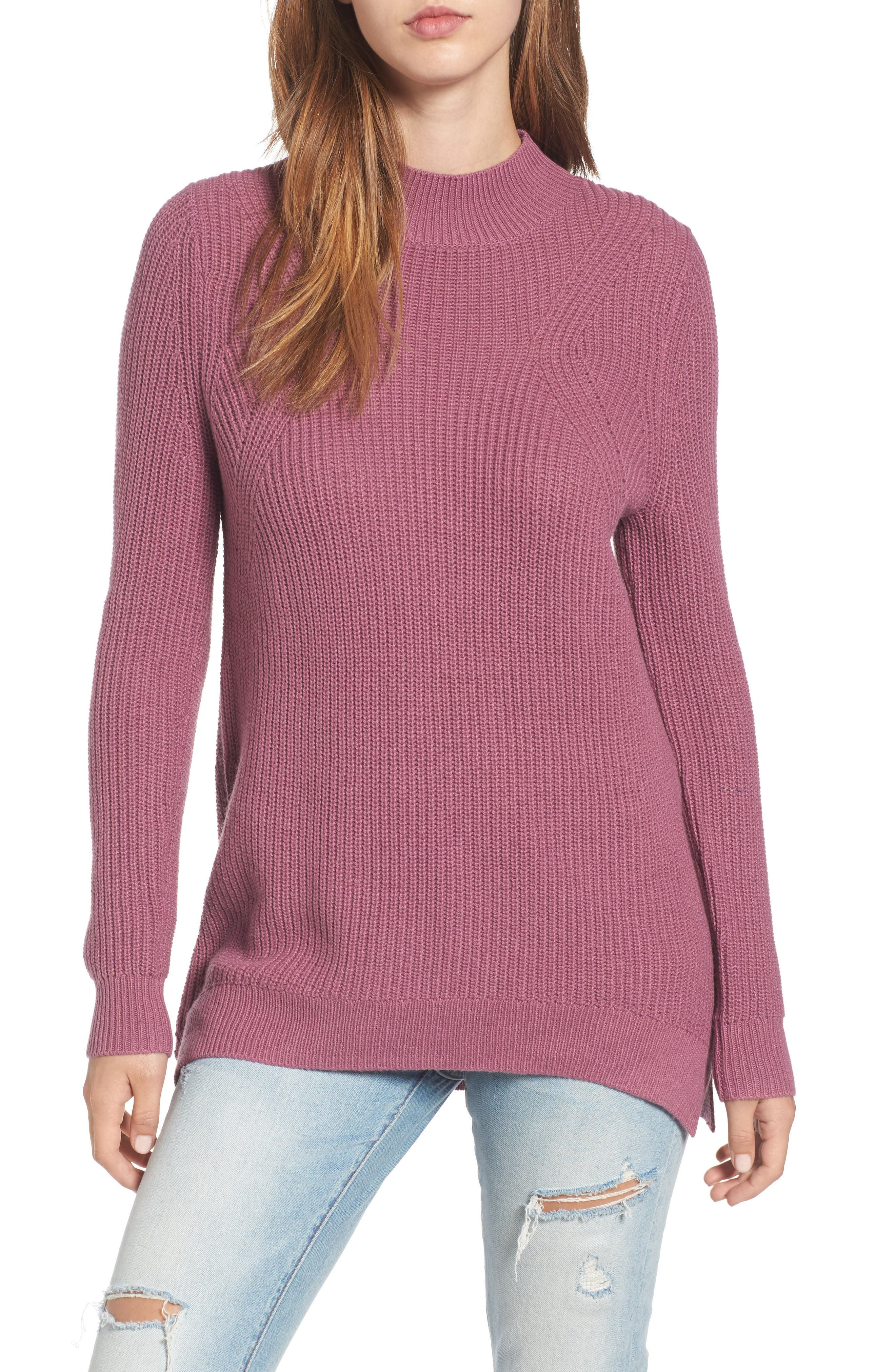 Mock Neck Tunic Sweater,                             Main thumbnail 7, color,