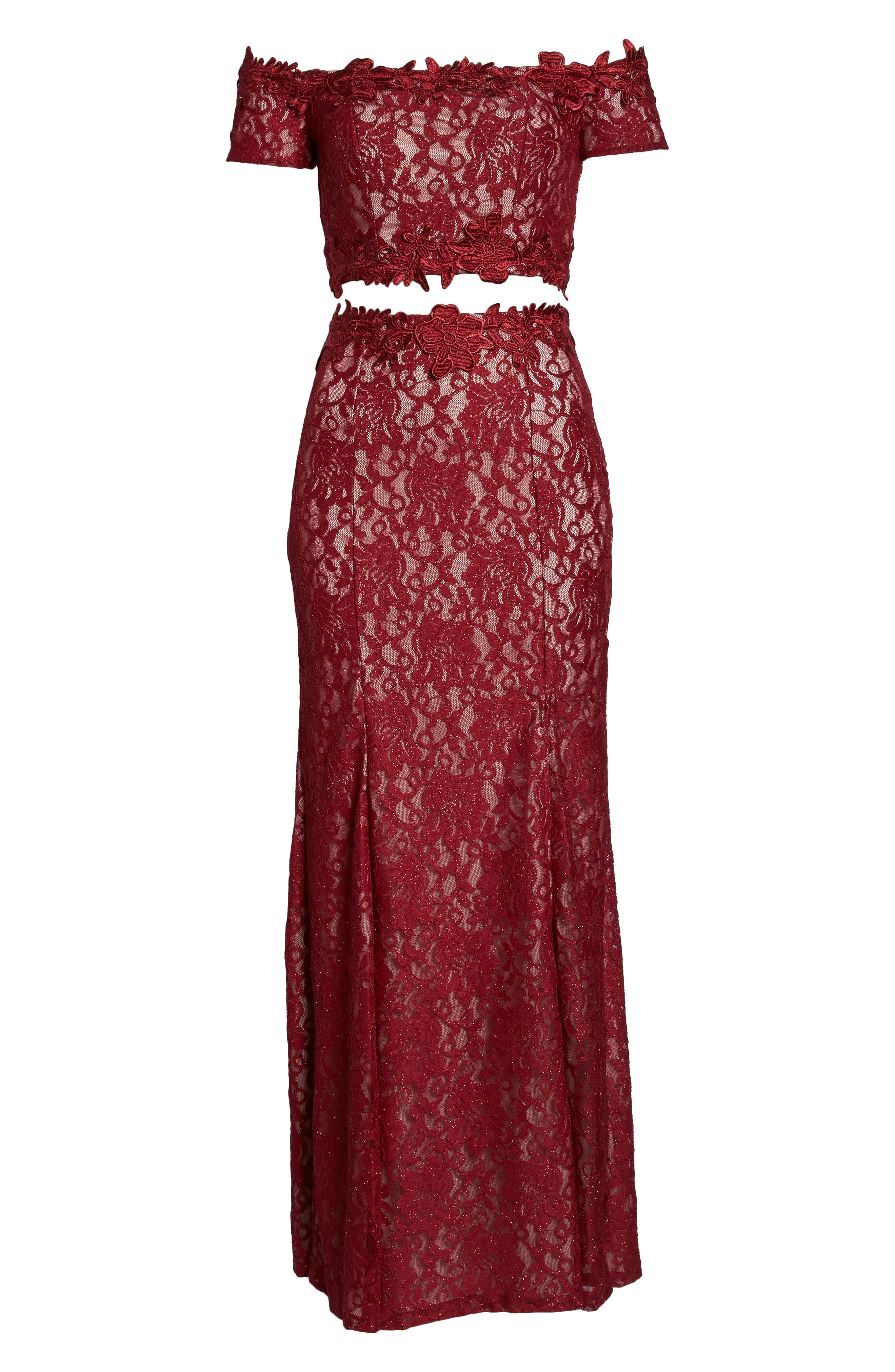 Two-Piece Off the Shoulder Lace Gown,                             Alternate thumbnail 7, color,                             WINE