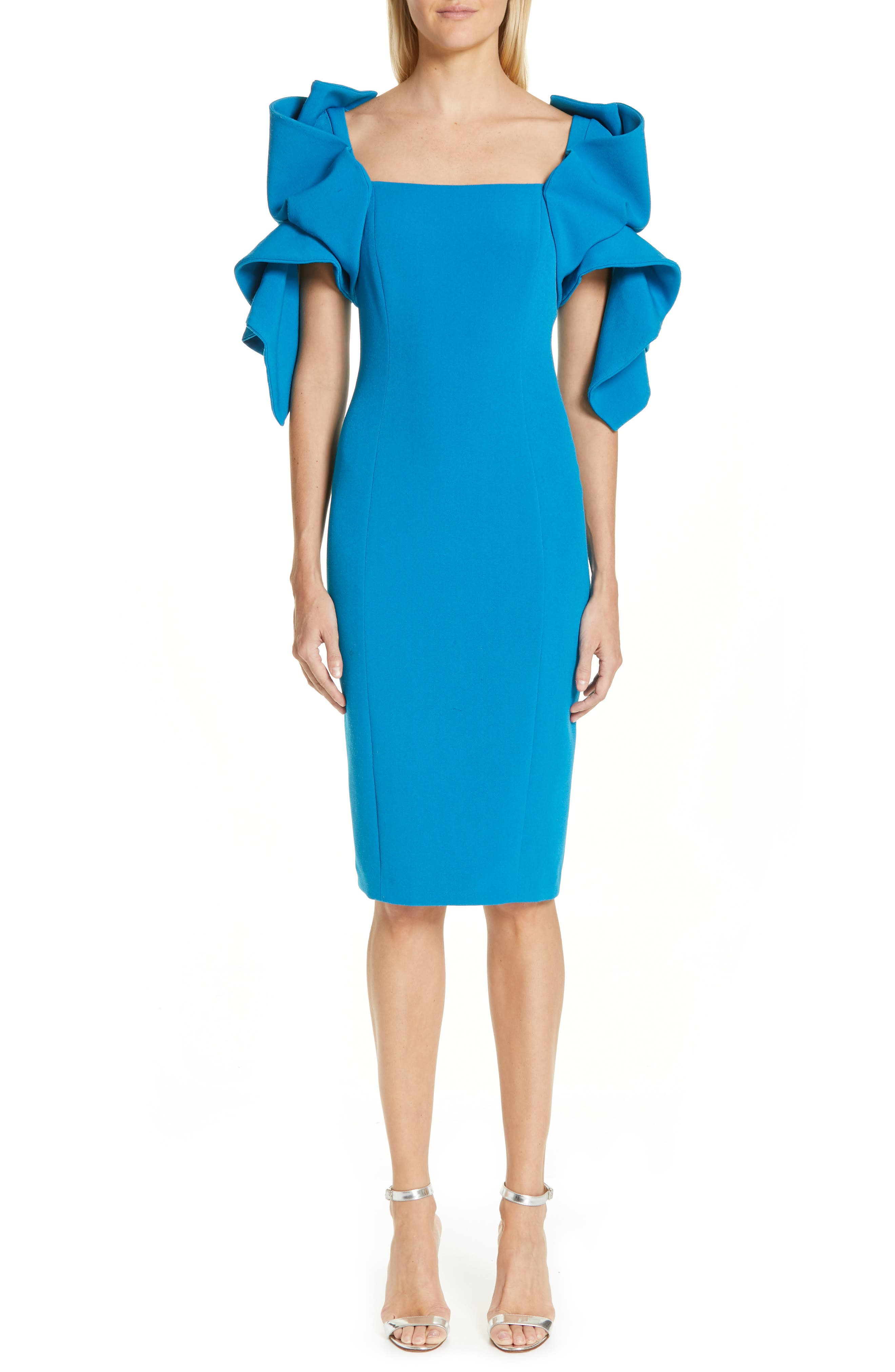 BADGLEY MISCHKA COLLECTION,                             Origami Sleeve Cocktail Dress,                             Main thumbnail 1, color,                             BRIGHT AQUA
