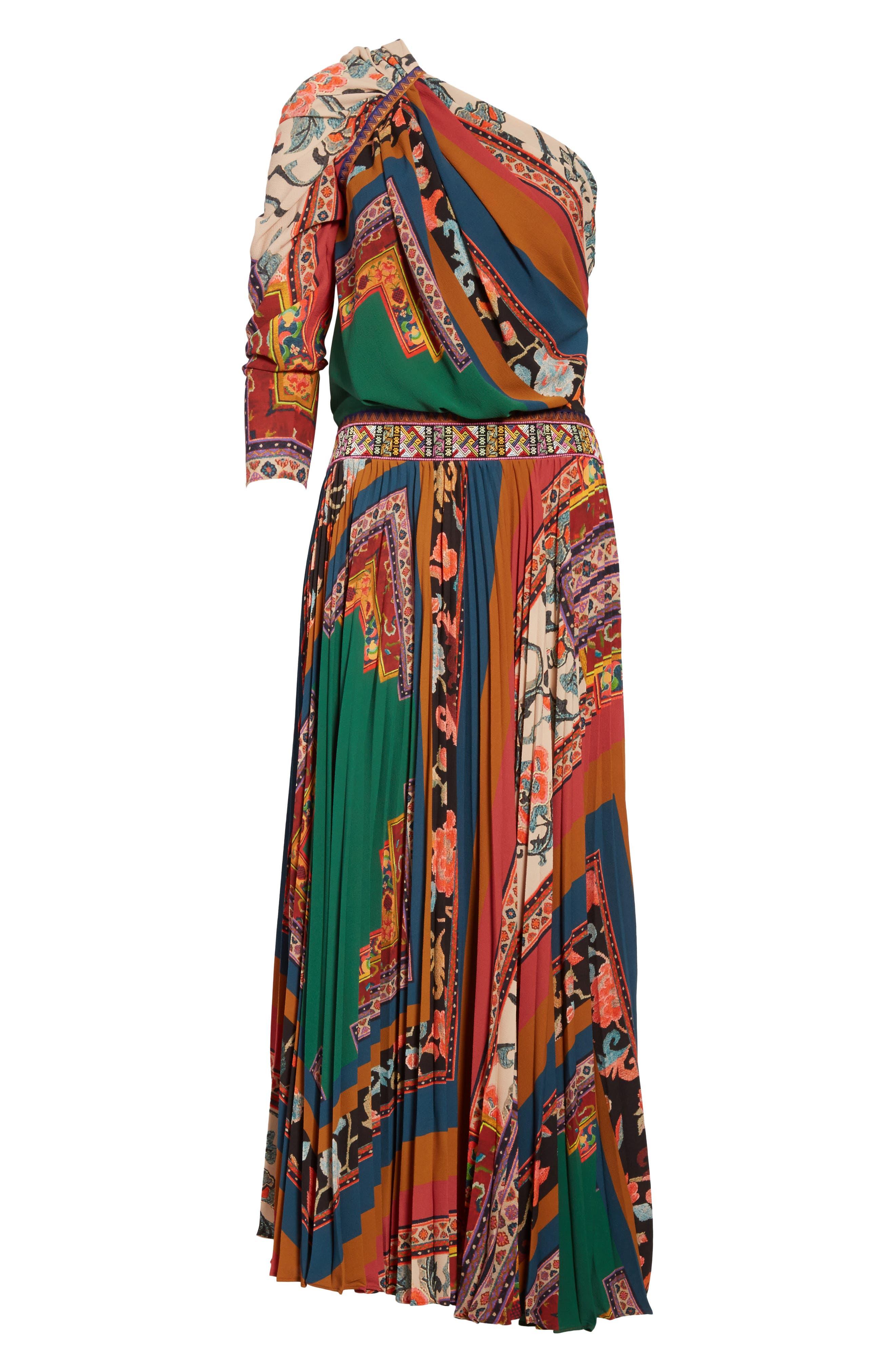 Print One-Shoulder Maxi Dress,                             Alternate thumbnail 6, color,                             300