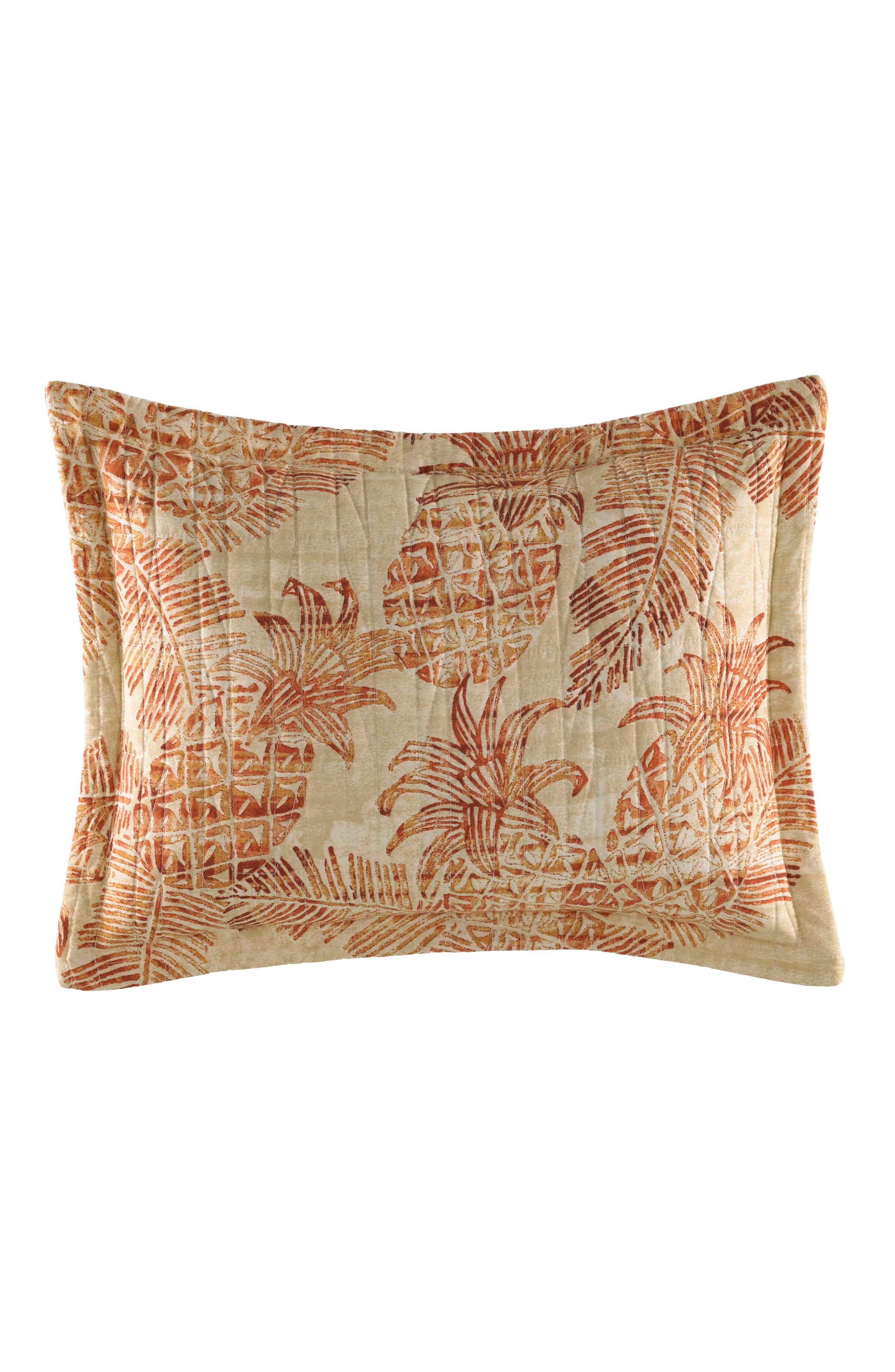 TOMMY BAHAMA Batik Pineapple Quilted Accent Pillow, Main, color, CORAL