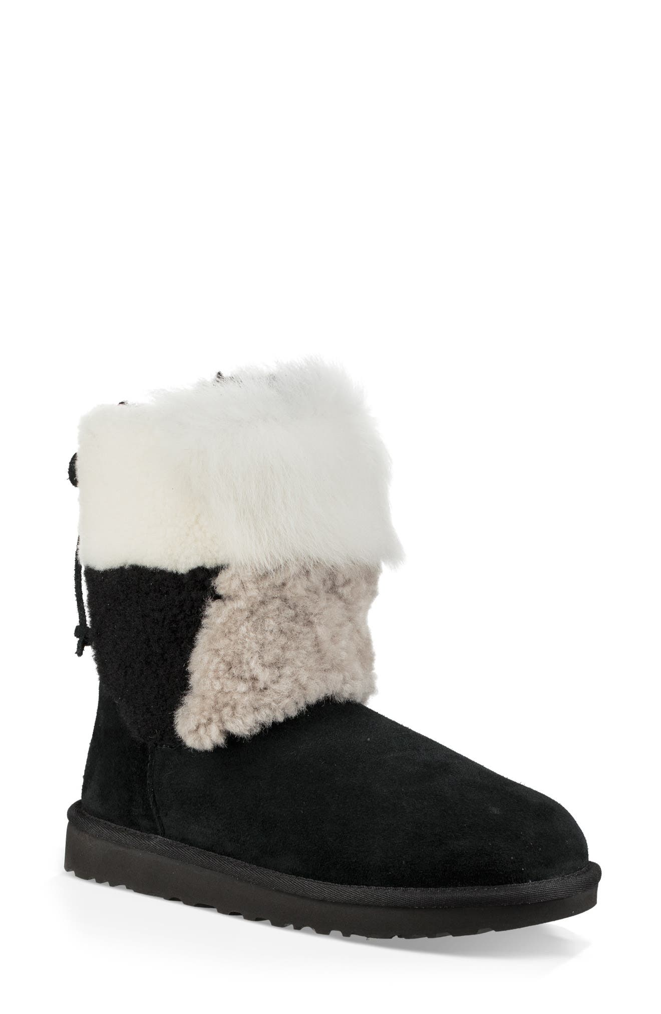 Classic Short Patchwork Fluff Shearling Boots in Black