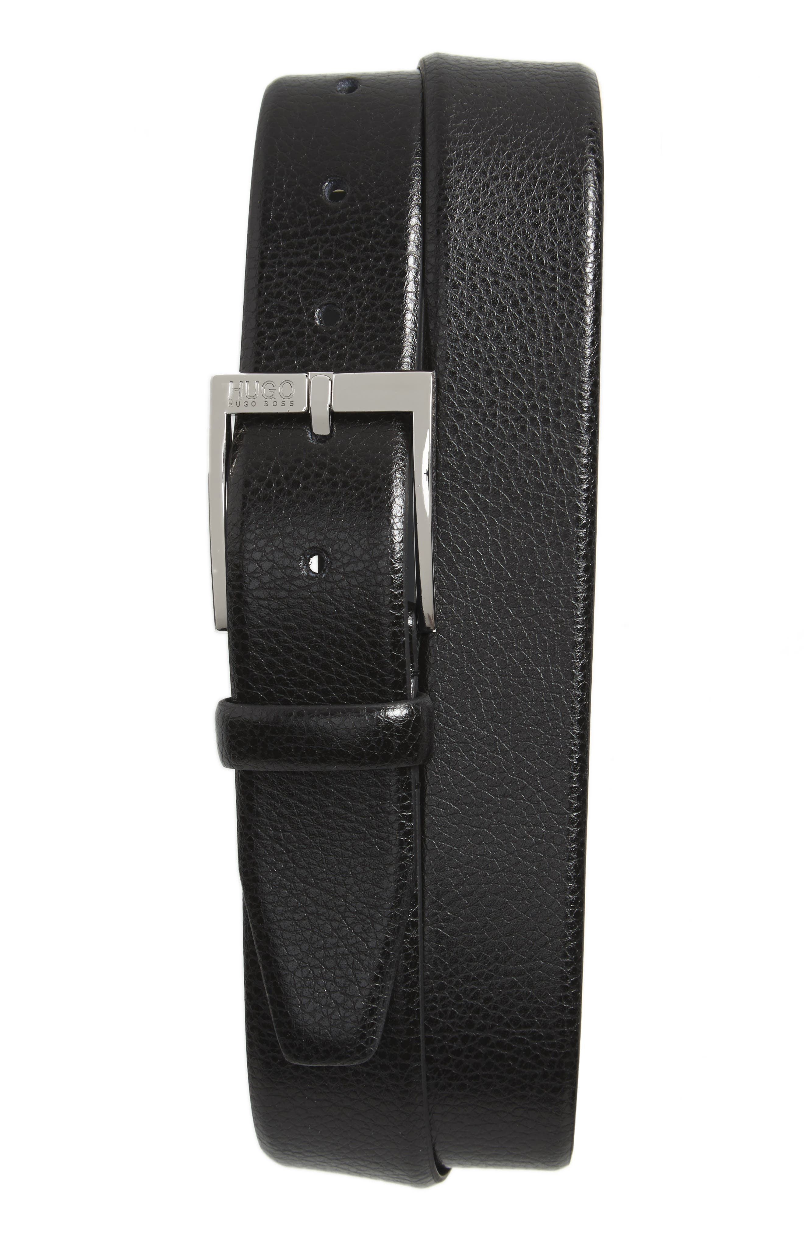 C-Elloy Leather Belt,                         Main,                         color, 001