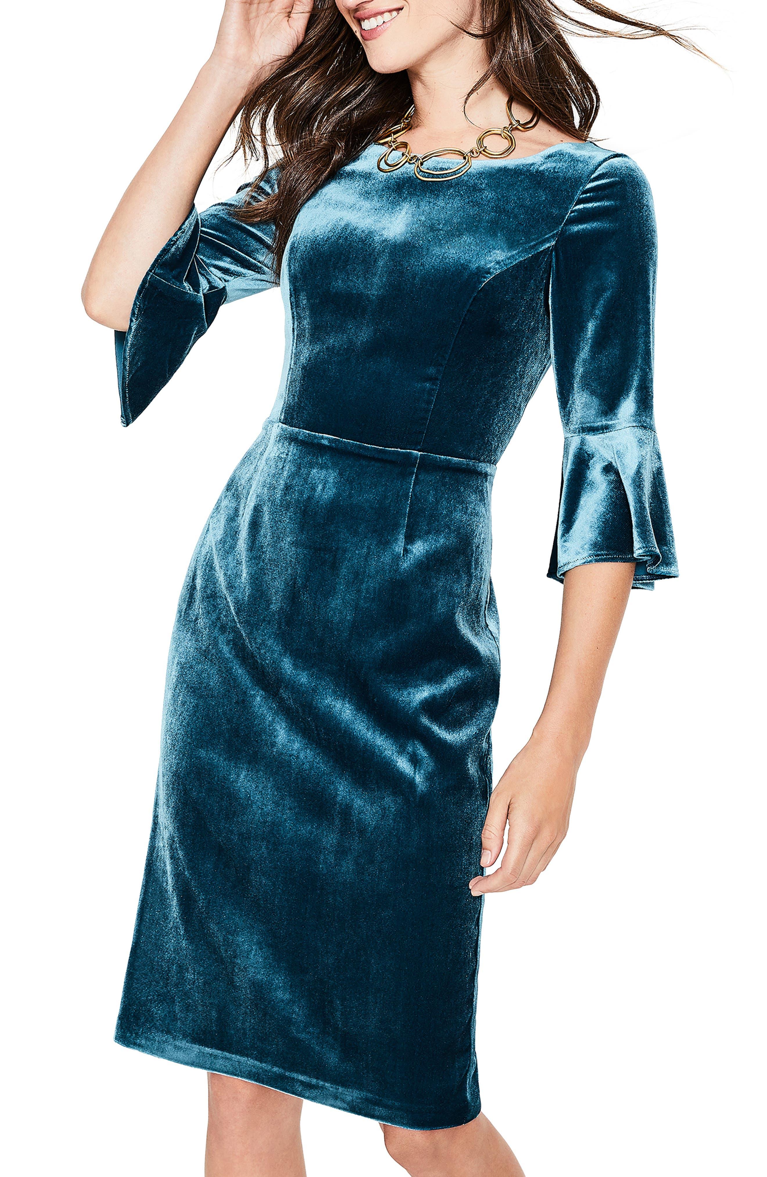 Aubrey Flounce Sleeve Velvet Dress,                             Alternate thumbnail 4, color,                             424
