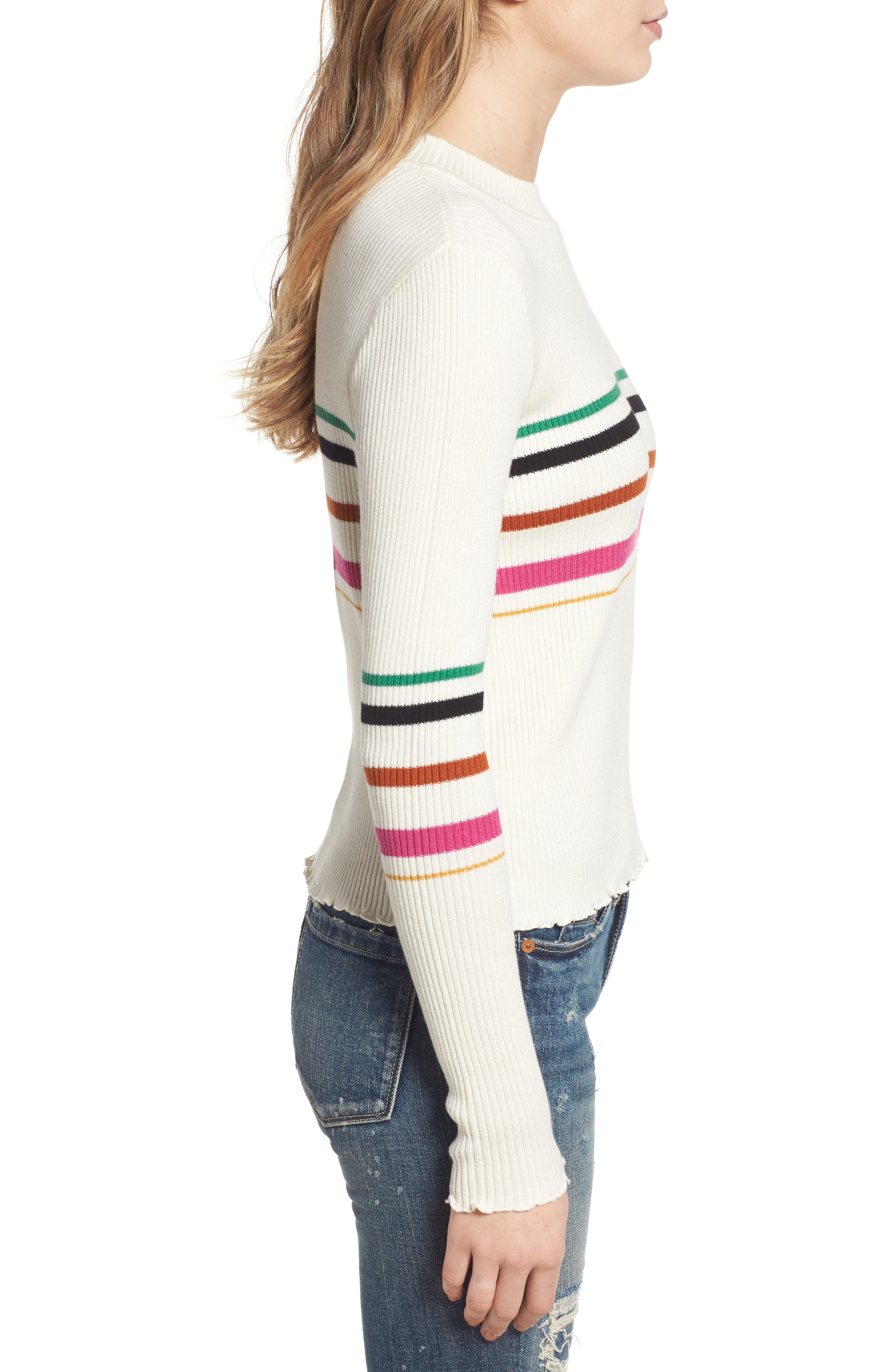 Lettuce Edge Multi Stripe Sweater,                             Alternate thumbnail 3, color,                             IVORY RILEY STRIPE