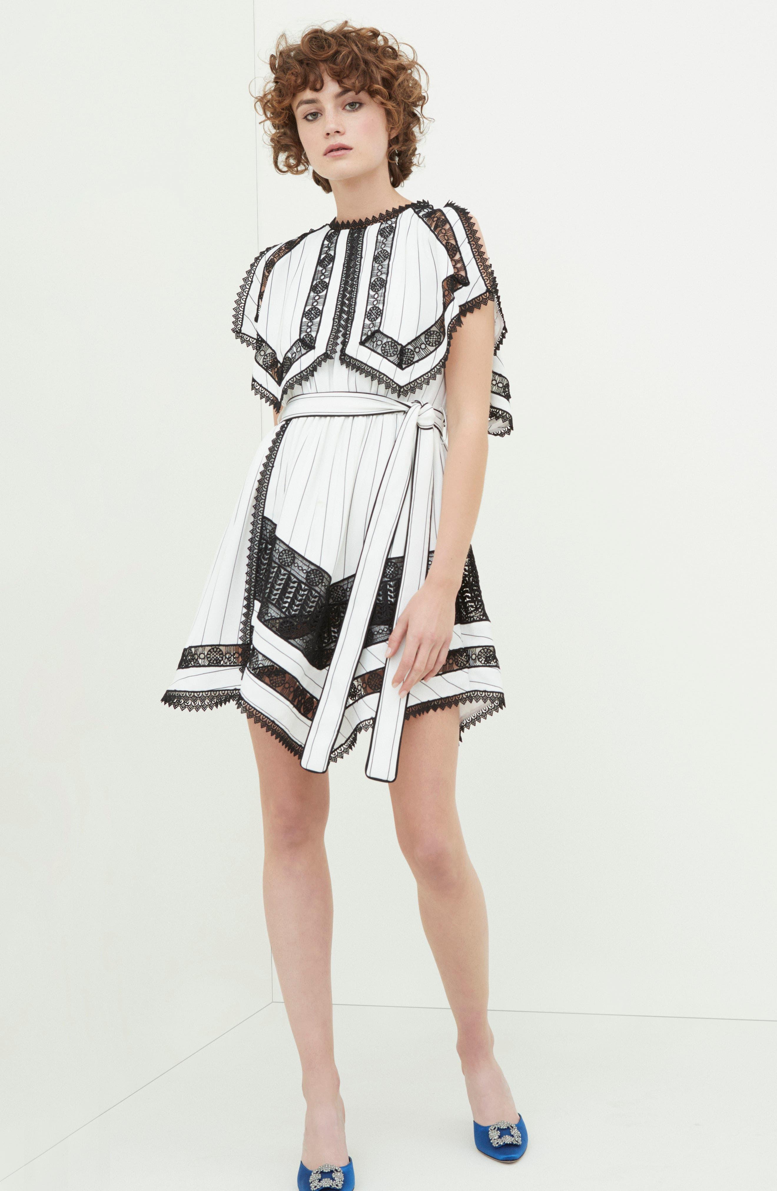 Lace Trim Handkerchief Hem Dress,                             Alternate thumbnail 7, color,