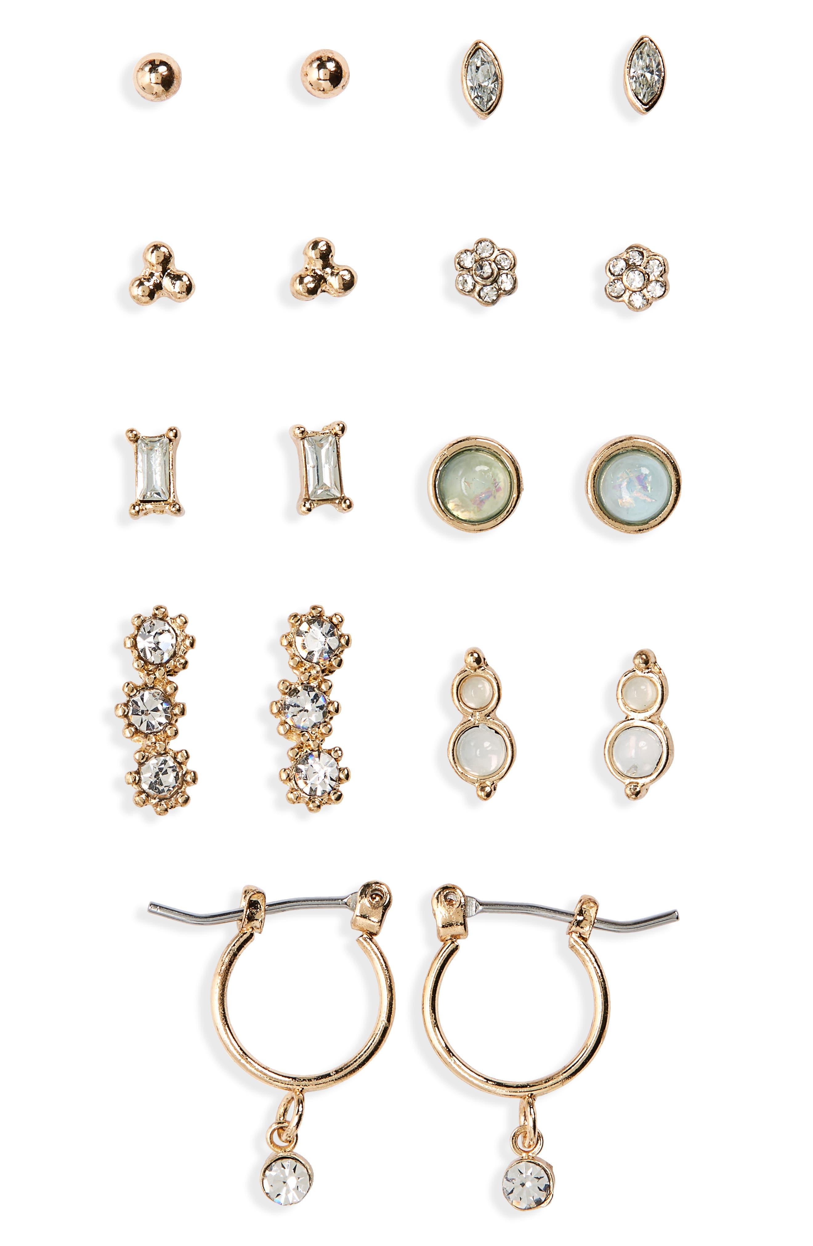 9-Pack Crystal Earrings,                             Main thumbnail 1, color,                             GOLD/ MULTI