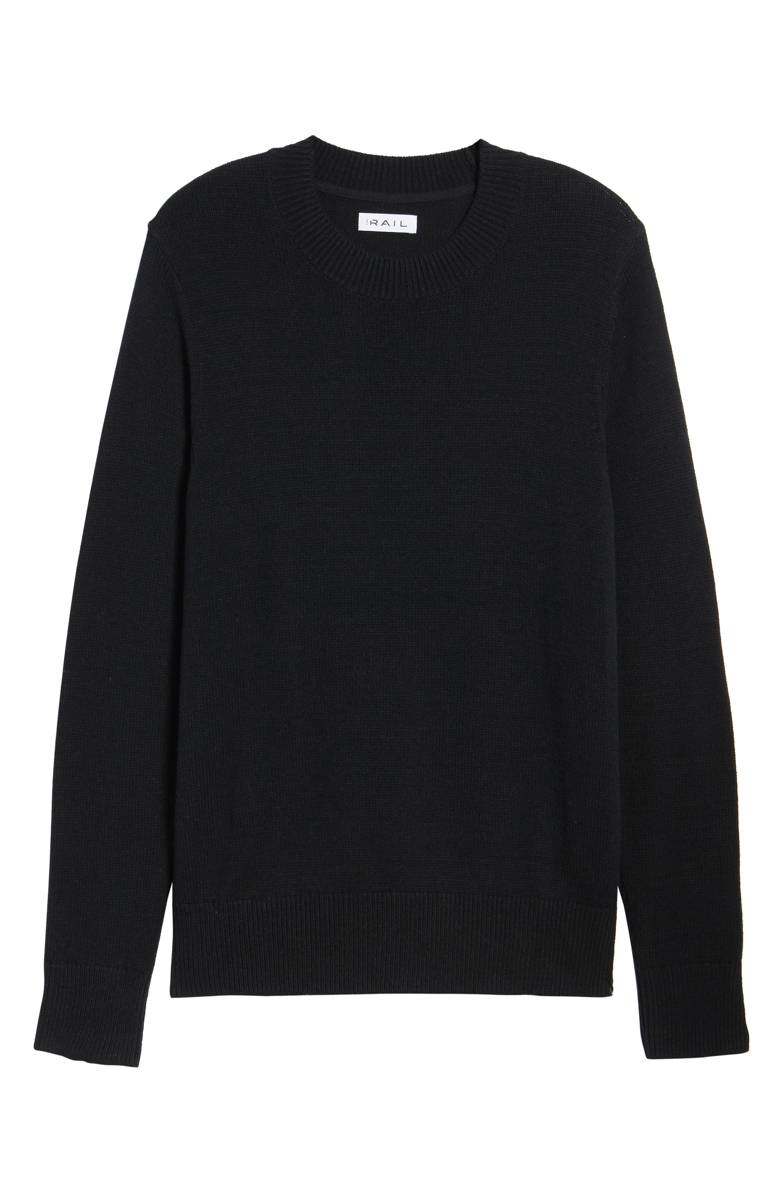 Crewneck Sweater,                             Alternate thumbnail 6, color,                             BLACK ROCK