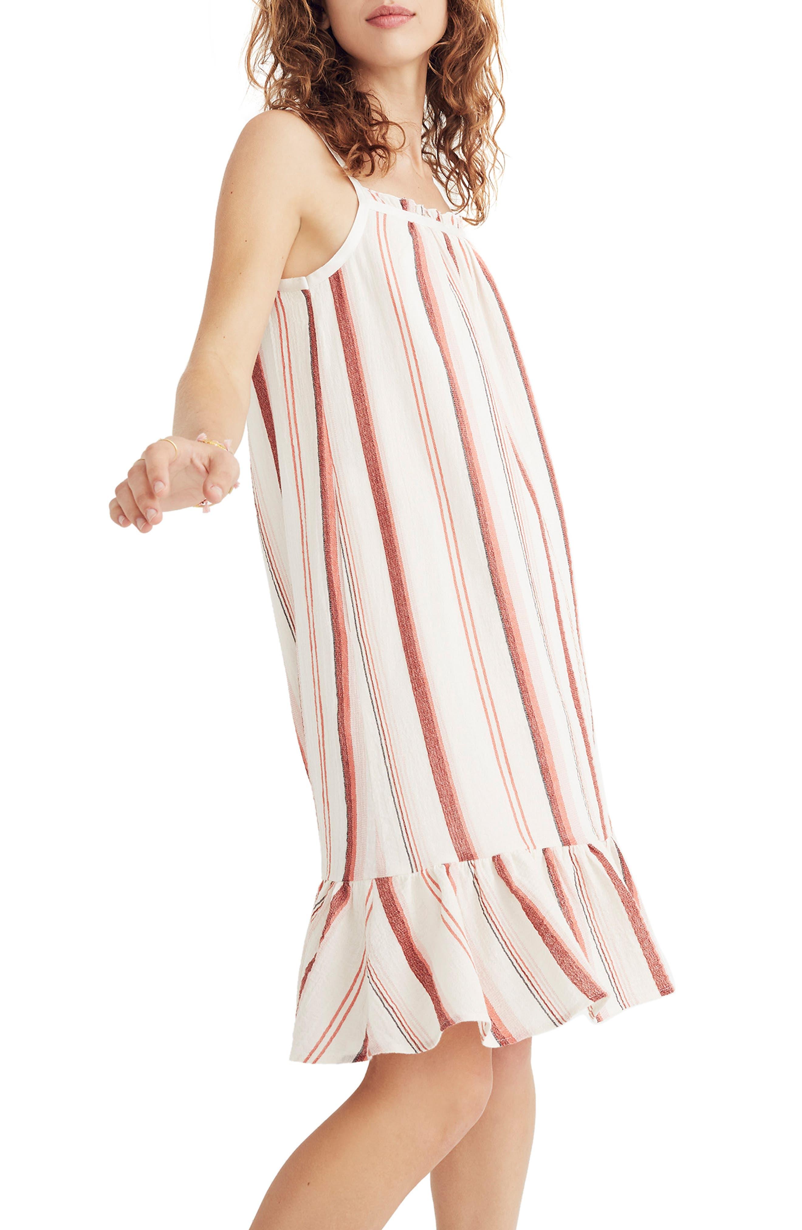 Madewell Stripe Trapeze Tank Dress, Yellow