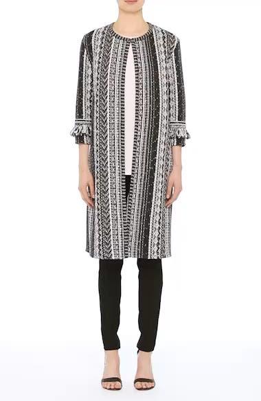 Fringe Ombré Stripe Tweed Knit Jacket, video thumbnail
