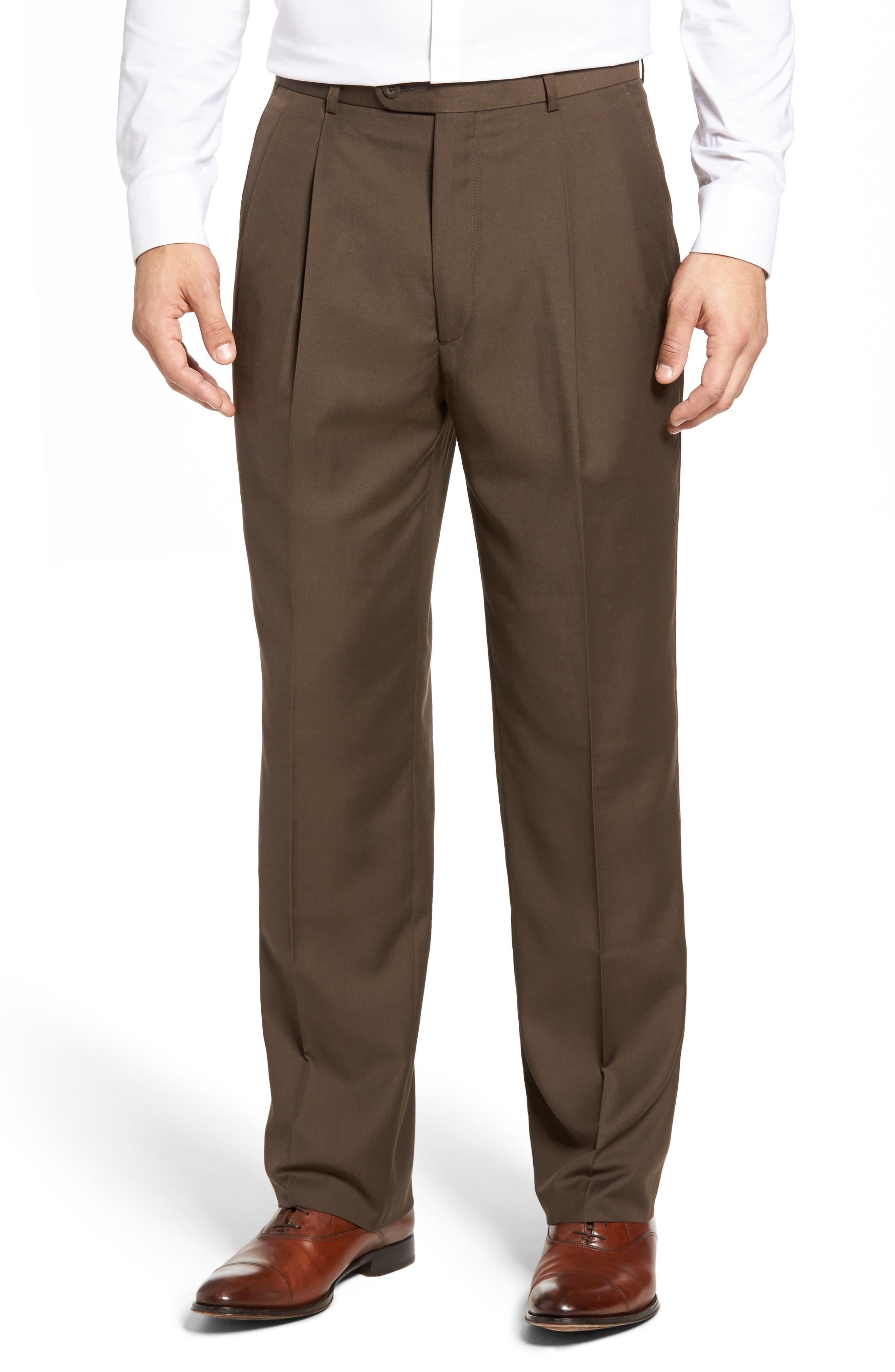 Pleated Microfiber Dress Pants,                             Main thumbnail 3, color,