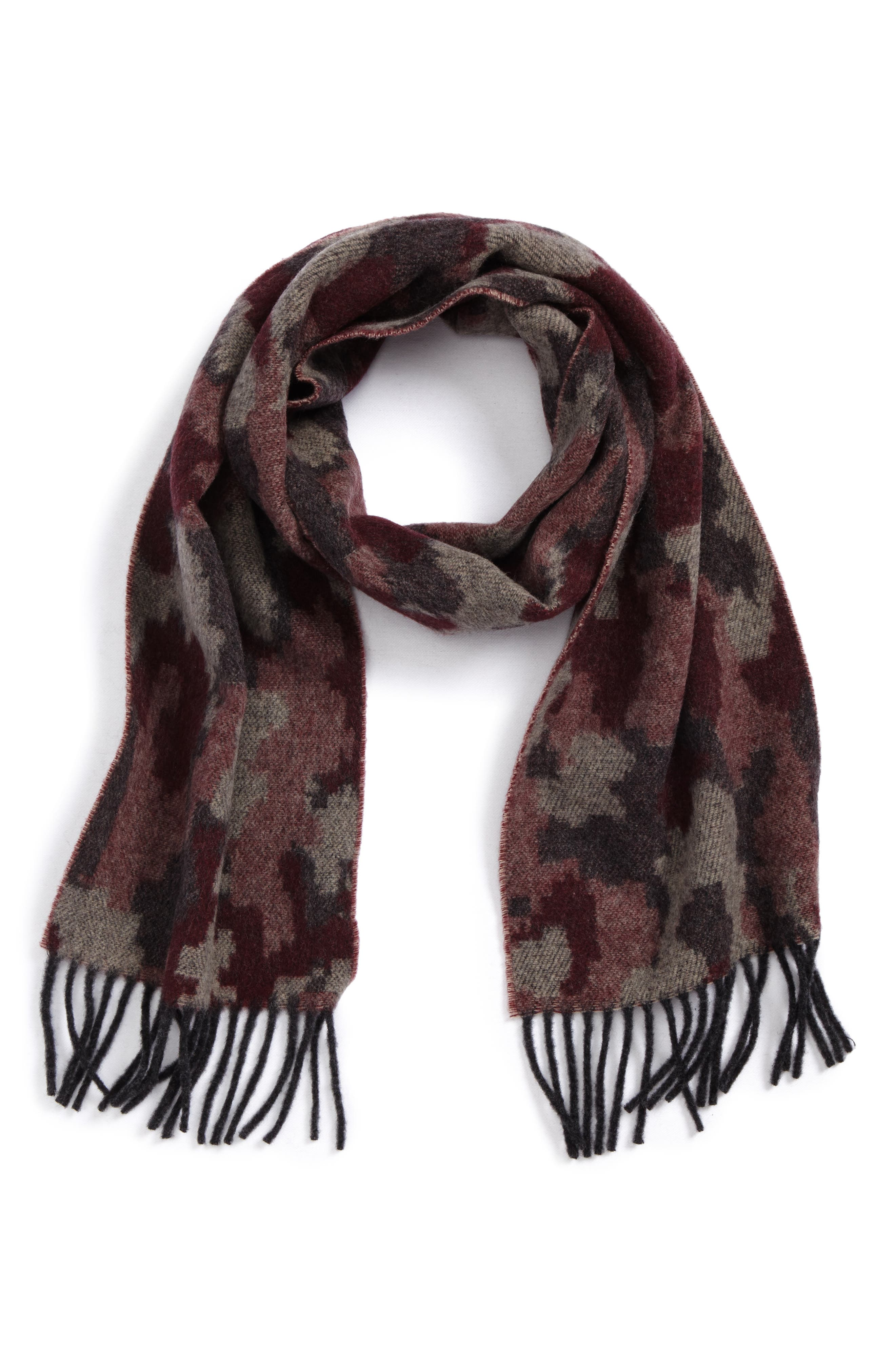 Jacquard Camo Wool & Cashmere Scarf,                             Main thumbnail 2, color,