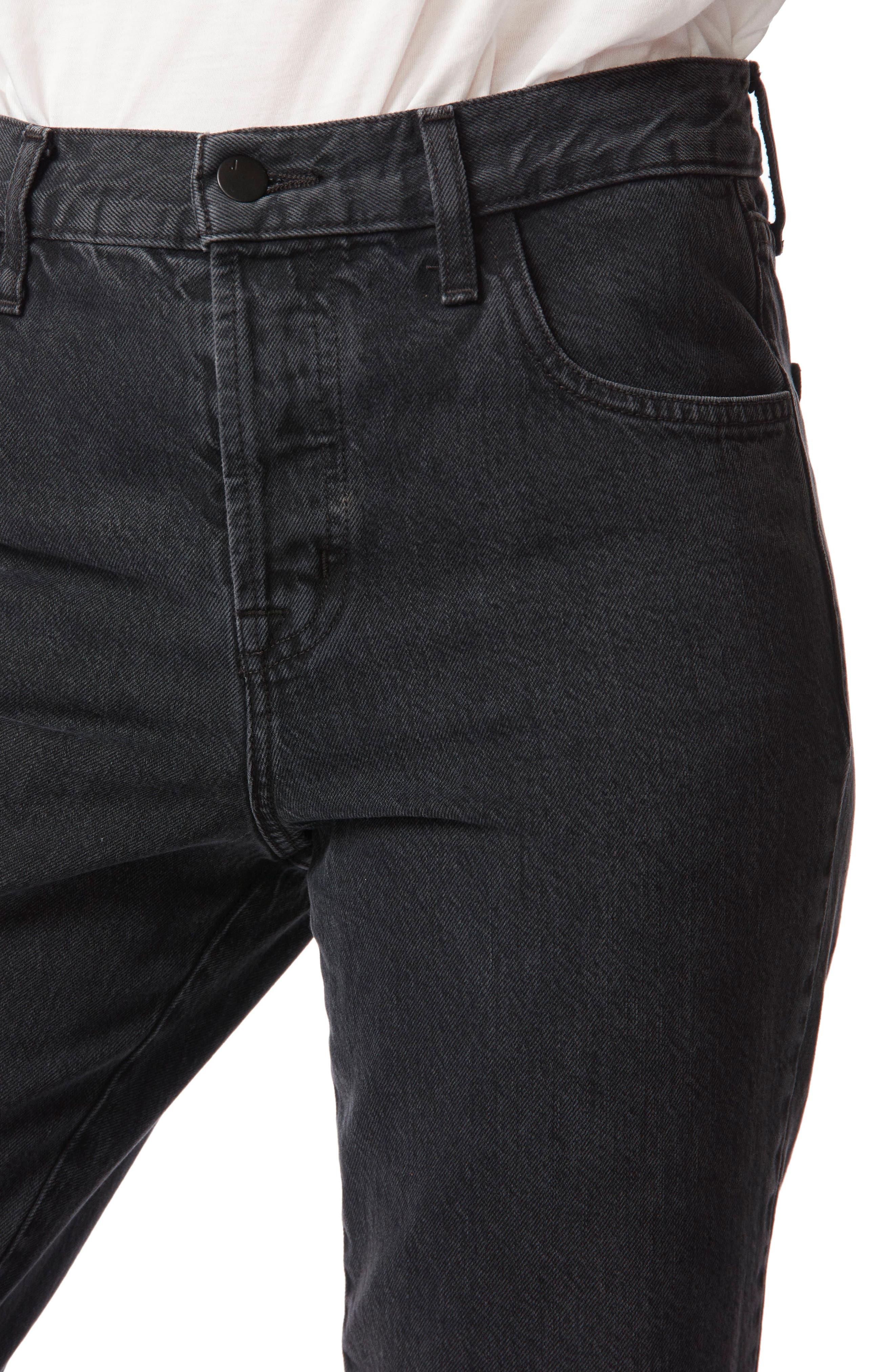 Wynne High Waist Crop Straight Leg Jeans,                             Alternate thumbnail 5, color,                             001