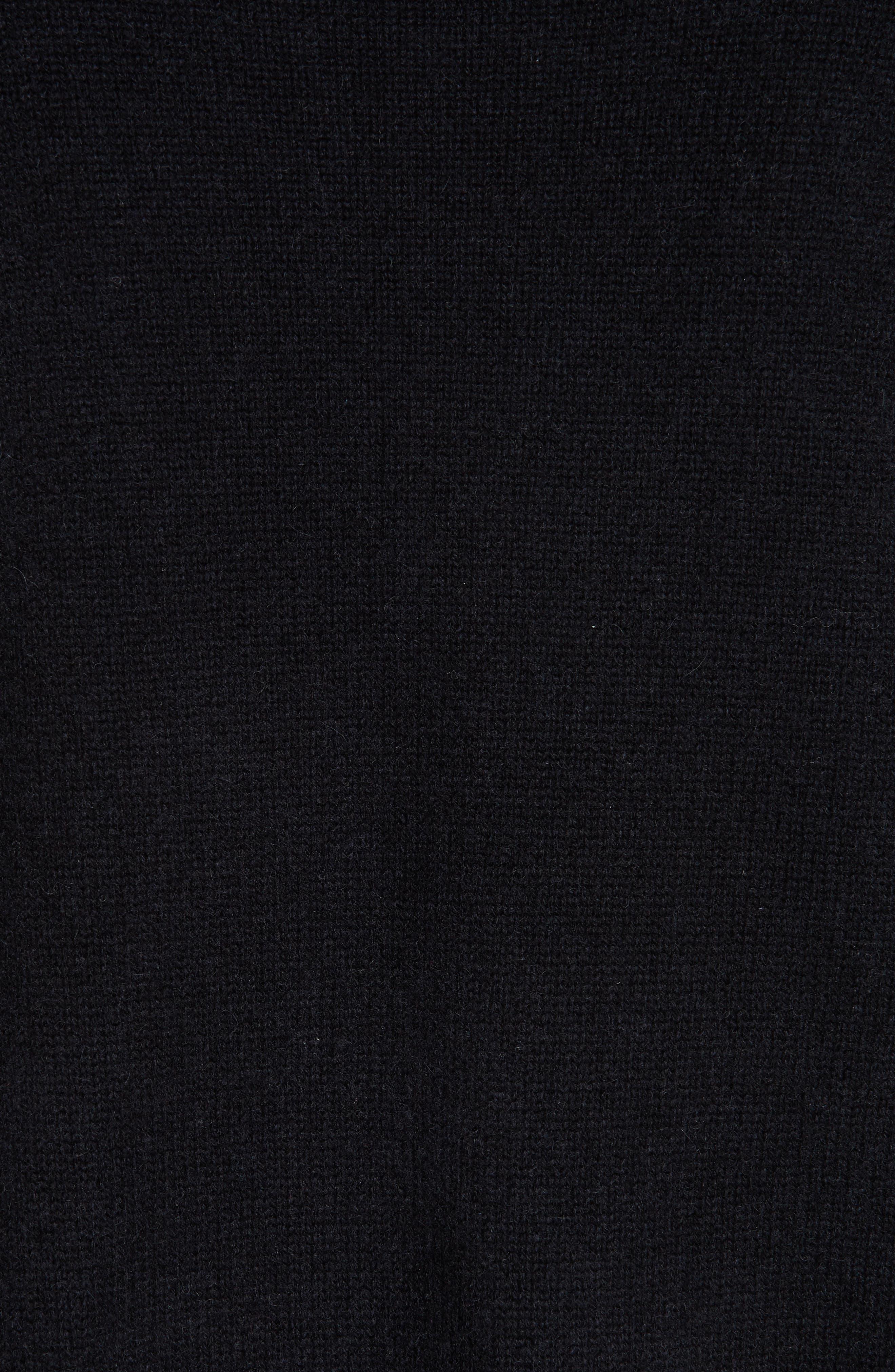 Button Shoulder Cashmere Sweater,                             Alternate thumbnail 5, color,                             BLACK