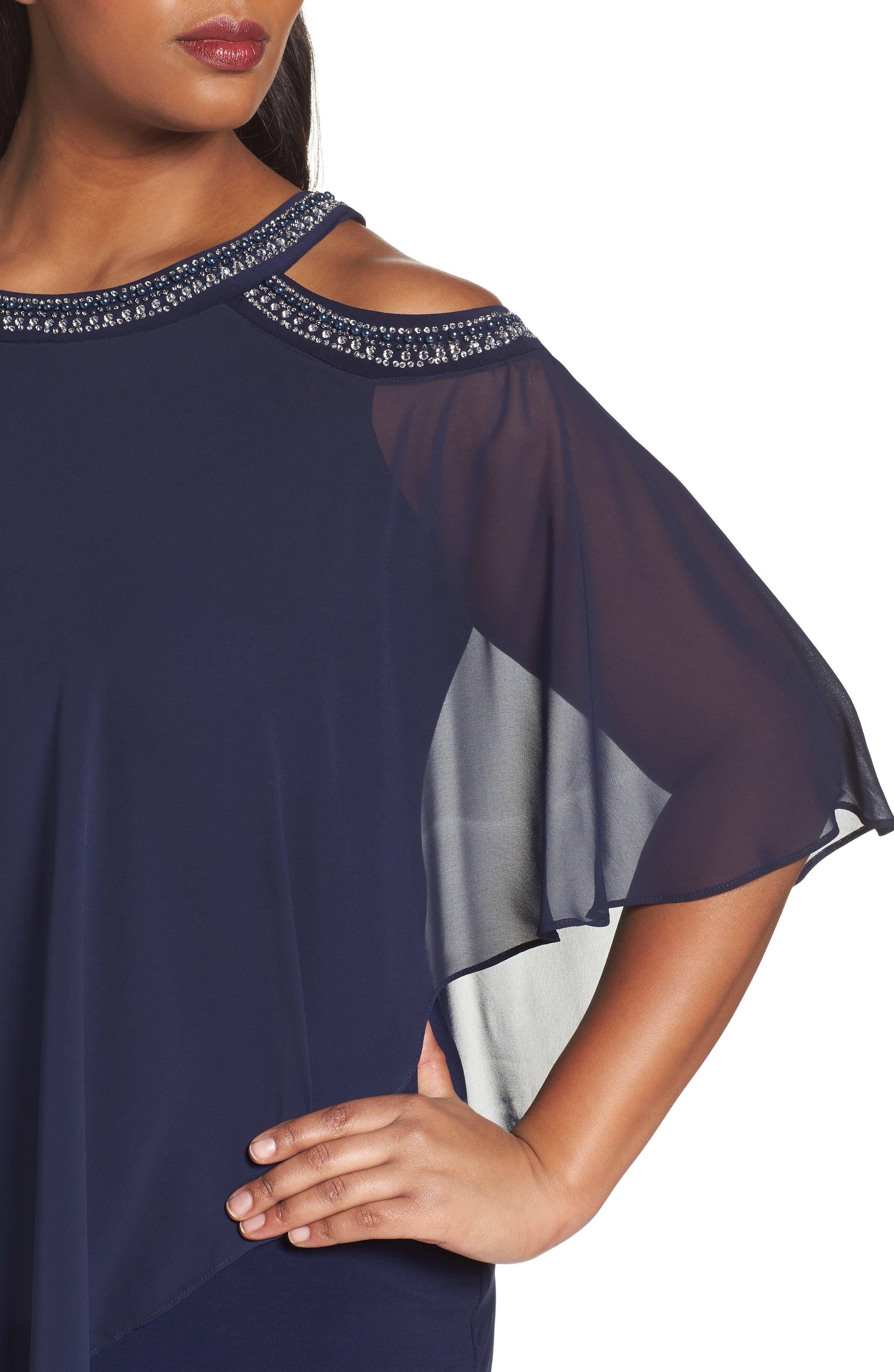 Embellished Cold Shoulder Overlay Cocktail Dress,                             Alternate thumbnail 4, color,                             410