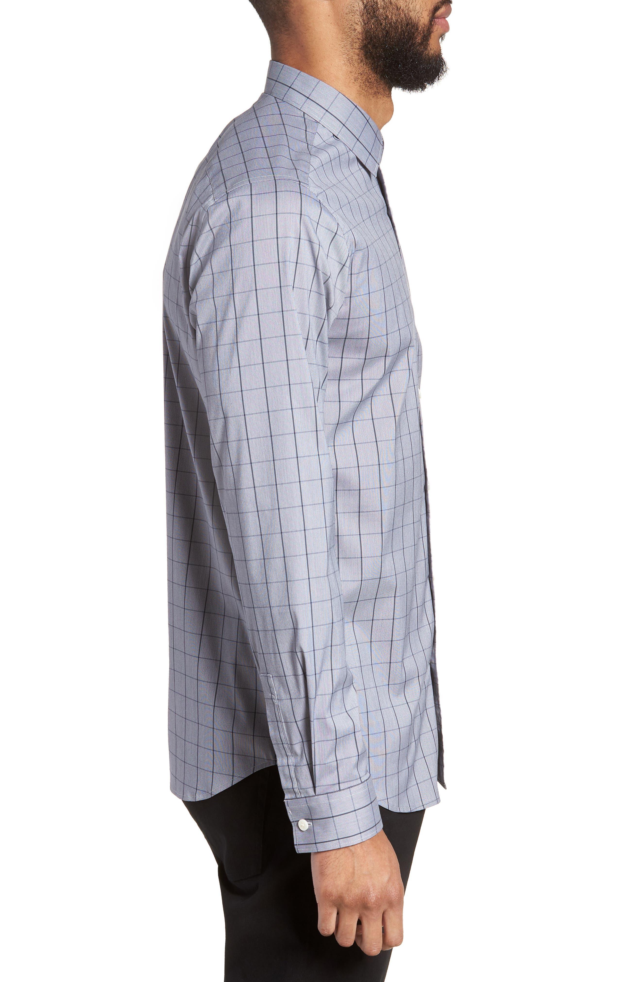 Murrary Trim Fit Stretch Check Sport Shirt,                             Alternate thumbnail 3, color,                             471