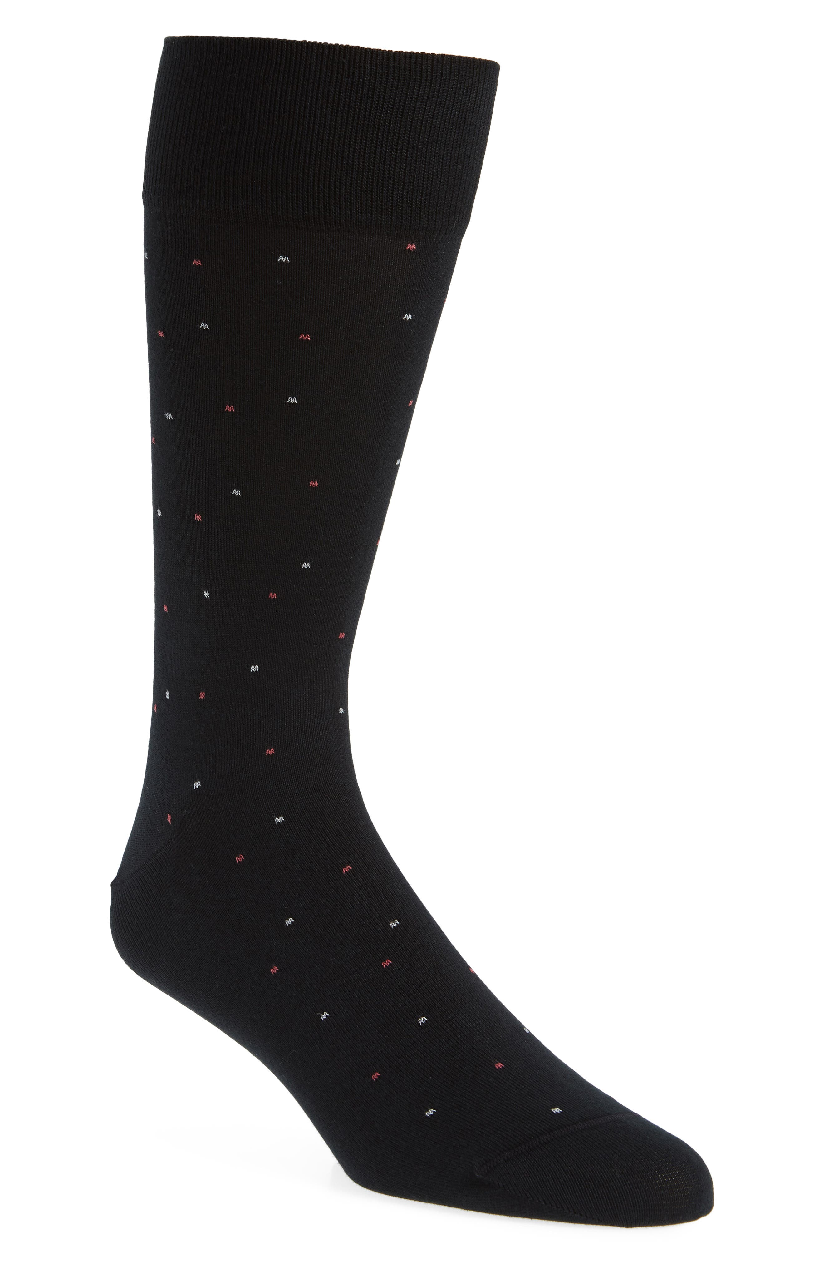 Dot Pima Cotton Blend Socks,                             Main thumbnail 1, color,                             BLACK/ GREY