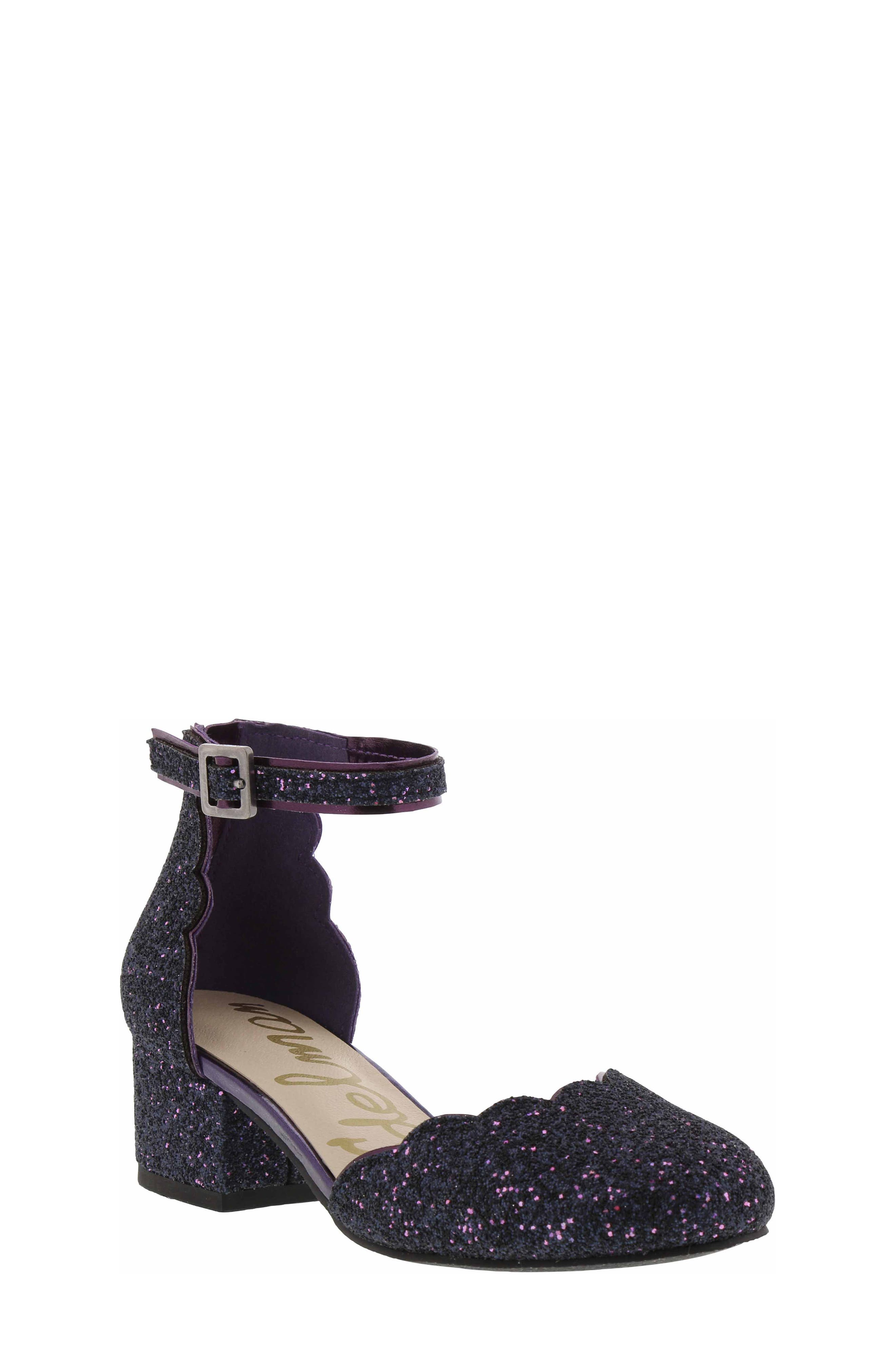 Evelyn Inara Glitter Ankle Strap Pump,                             Main thumbnail 1, color,                             PURPLE MULTI