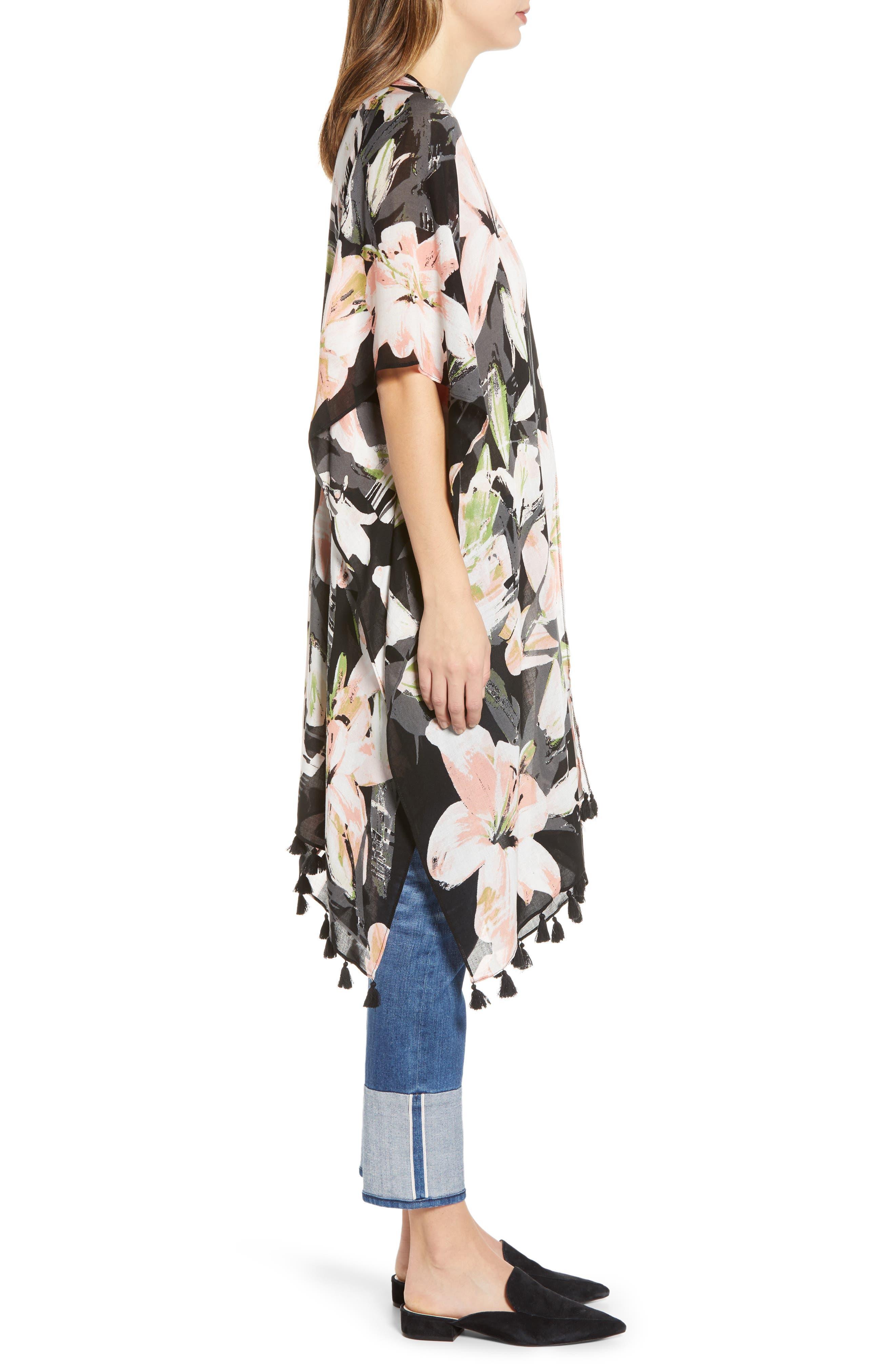NORDSTROM,                             Print Kimono Wrap,                             Alternate thumbnail 4, color,                             BLACK DIGI FLORA