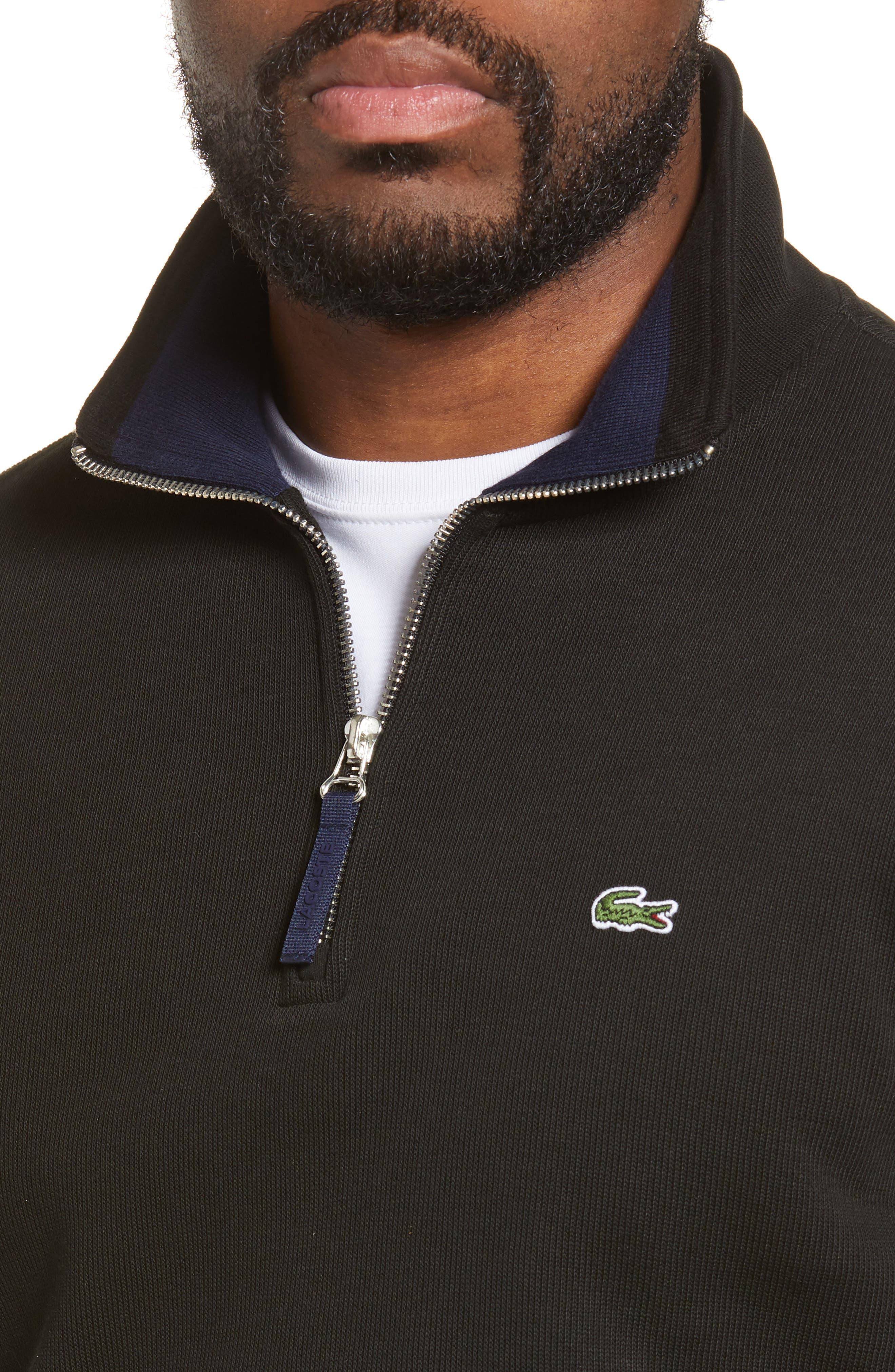 LACOSTE,                             Quarter Zip Pullover,                             Alternate thumbnail 4, color,                             BLACK/ NAVY BLUE