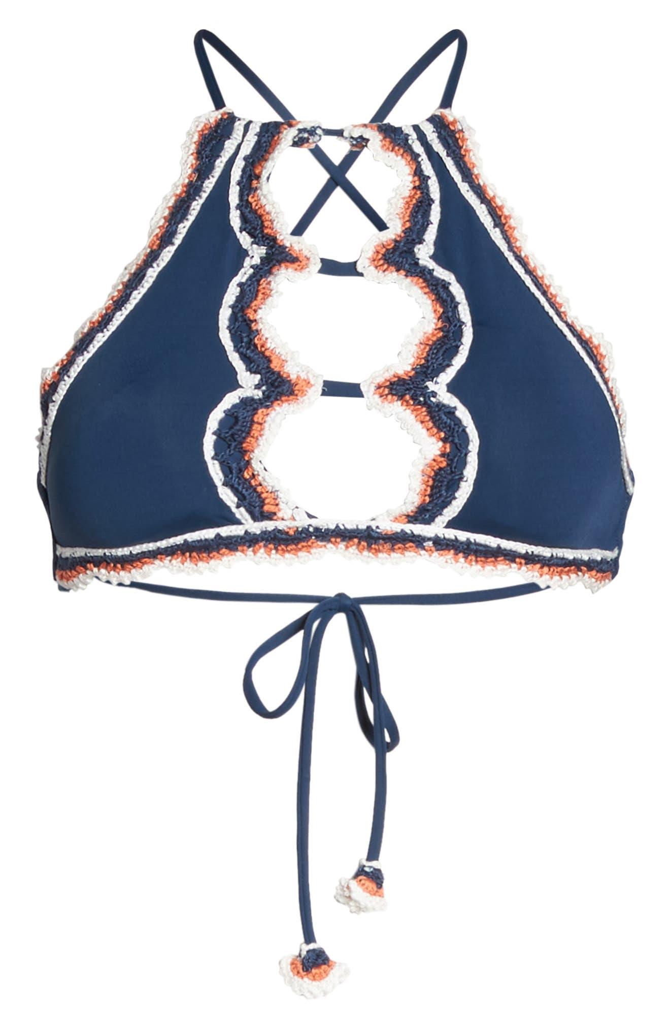Medina High Neck Bikini Top,                             Alternate thumbnail 6, color,                             405
