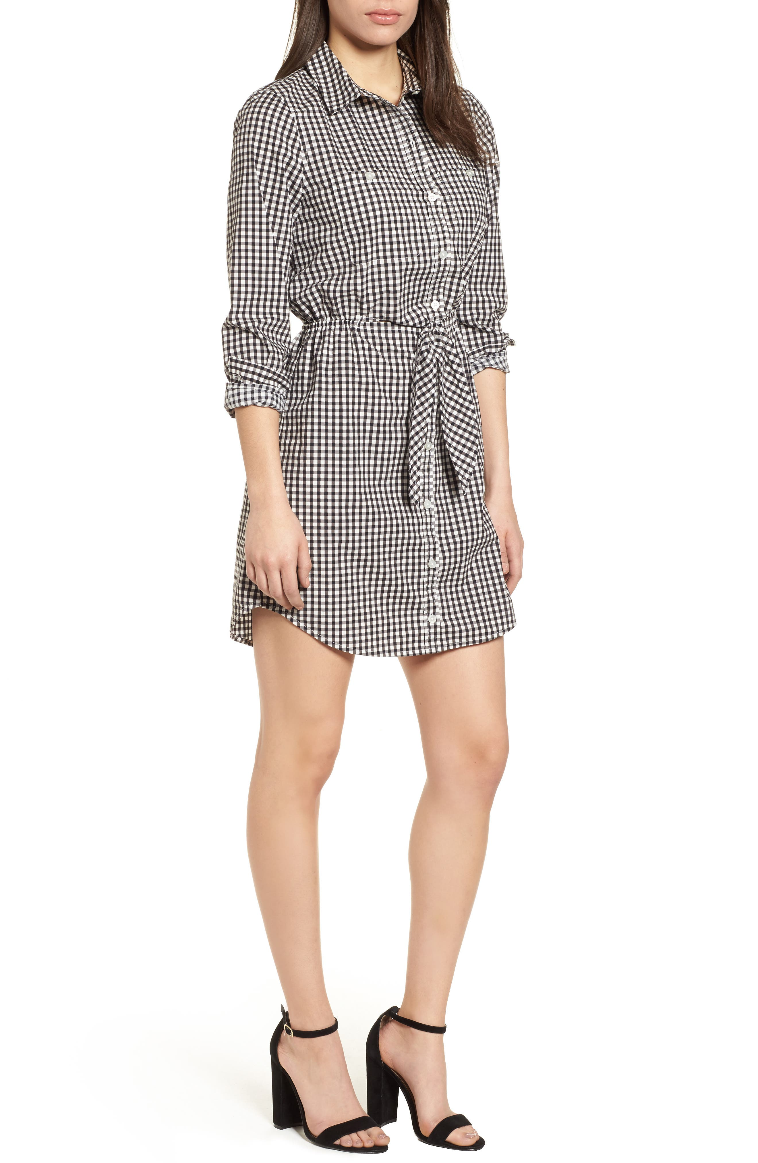 Tie Front Gingham Shirtdress,                             Main thumbnail 1, color,                             011