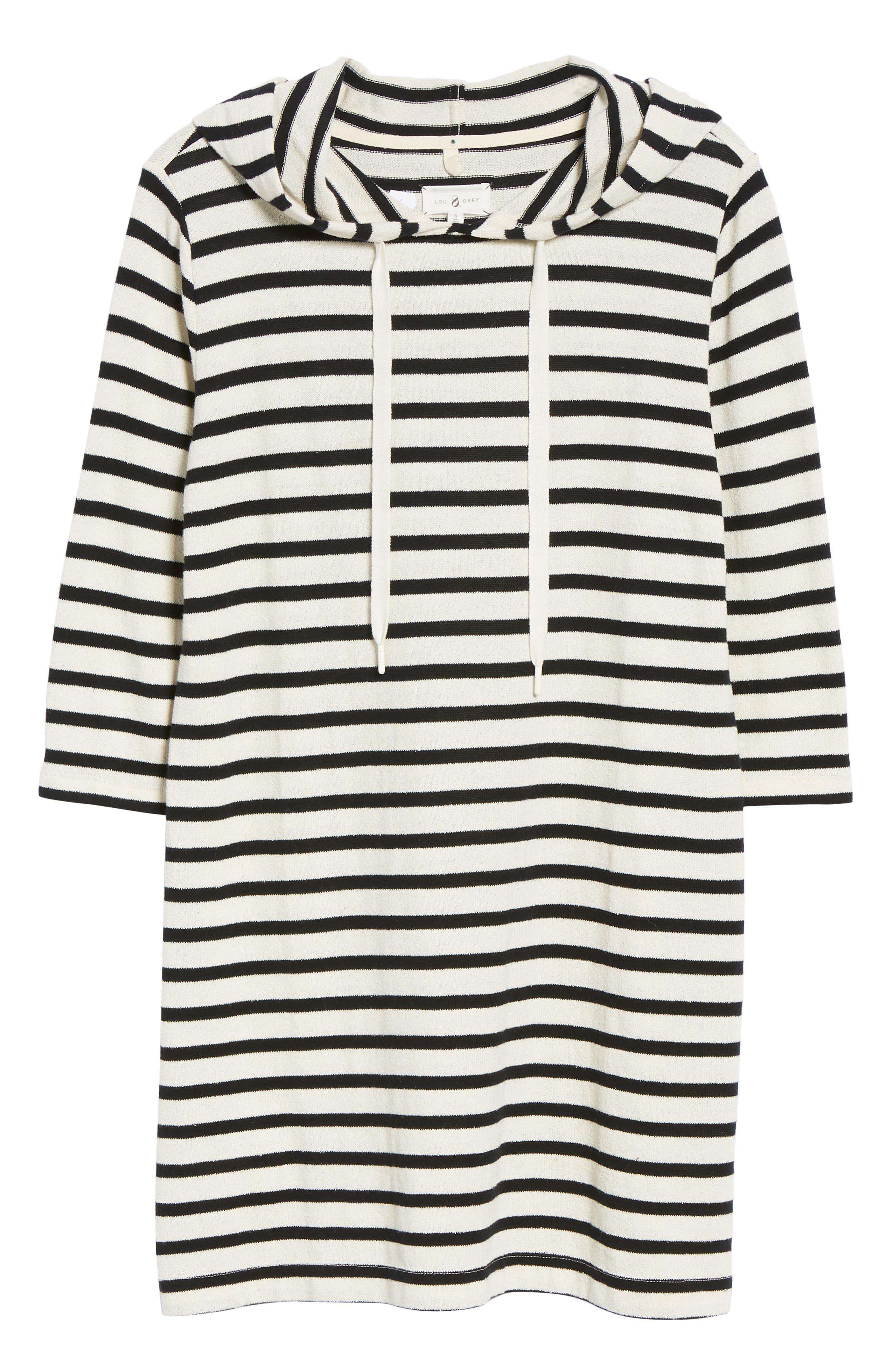 Striped Hoodie Dress,                             Alternate thumbnail 8, color,                             BLACK/ WHITE