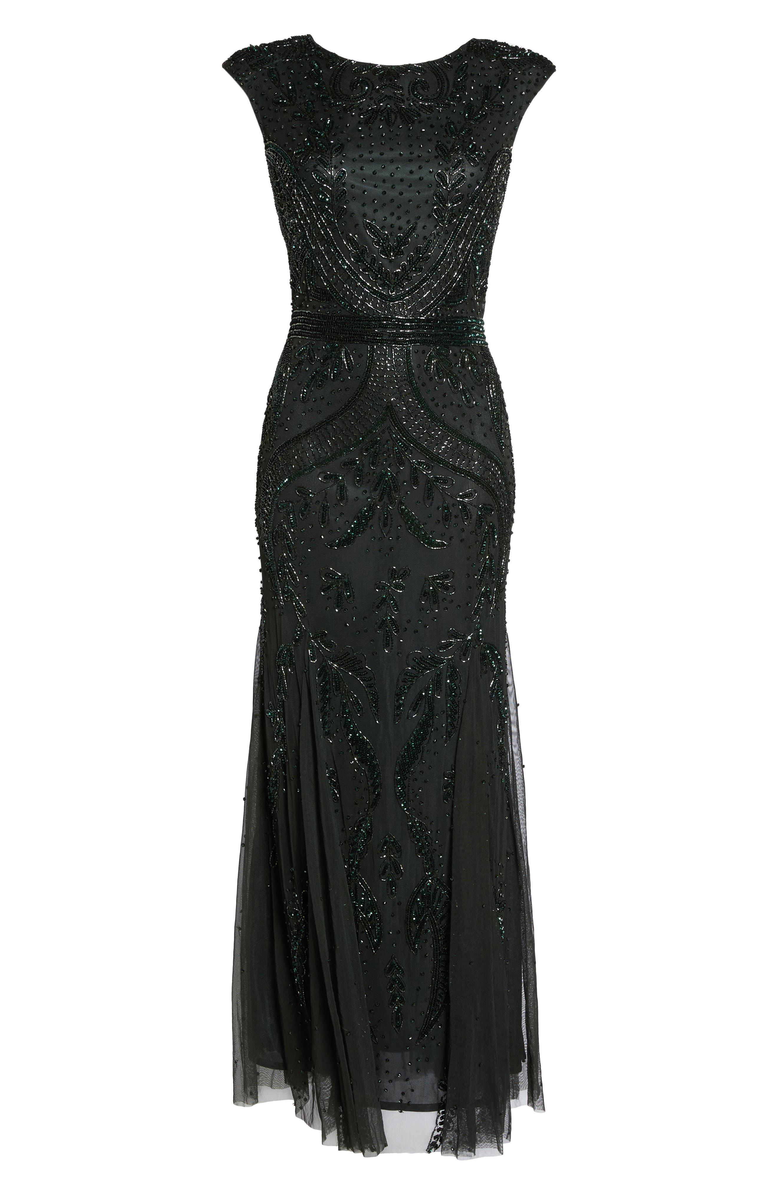 Embellished Mesh Godet Gown,                             Alternate thumbnail 6, color,                             301