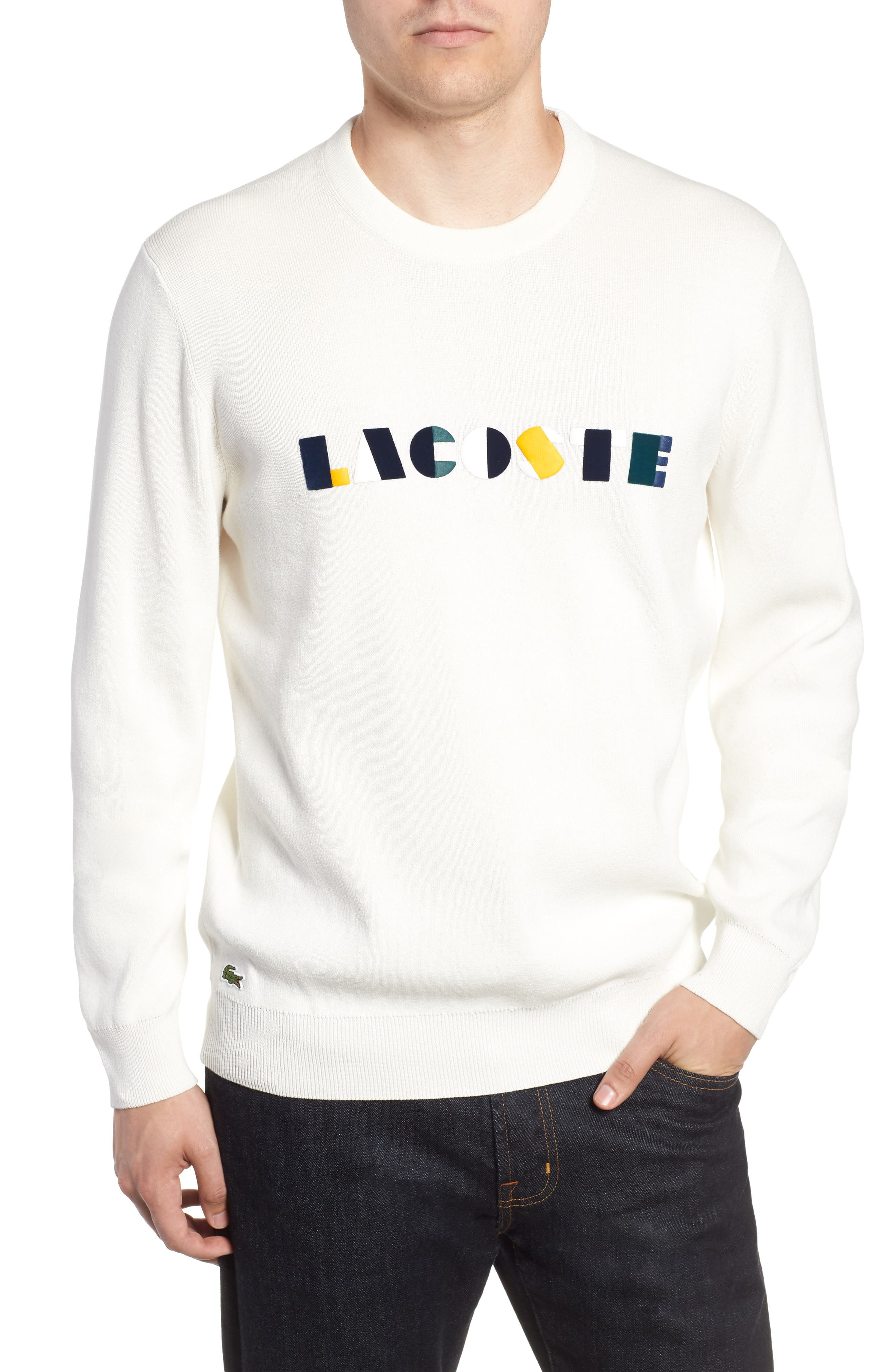Letter Embroidered Sweater,                         Main,                         color, 110